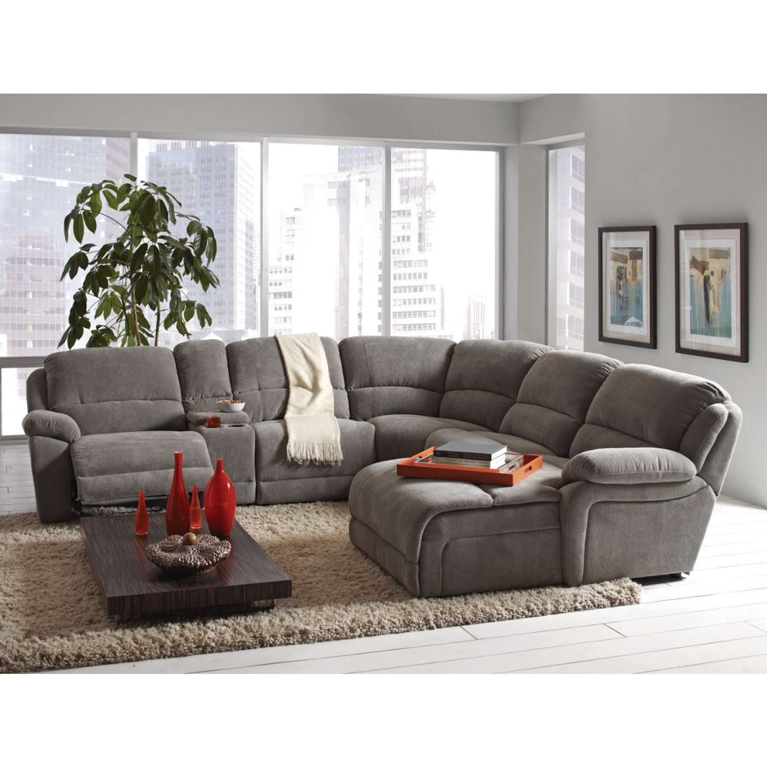 Most Recent Fabric Sectional Sofas Inside Coaster Mackenzie Silver 6 Piece Reclining Sectional Sofa With (View 19 of 20)