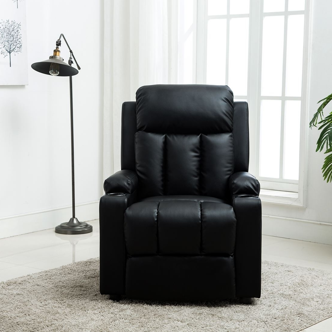 Most Recent Gaming Sofa Chairs Throughout Studio Leather Recliner W Drink Holders Armchair Sofa Chair Cinema (View 11 of 20)