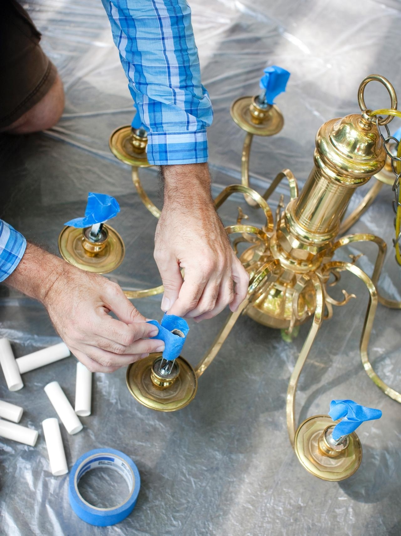 Most Recent How To Modernize A Traditional Brass Chandelier (View 11 of 20)
