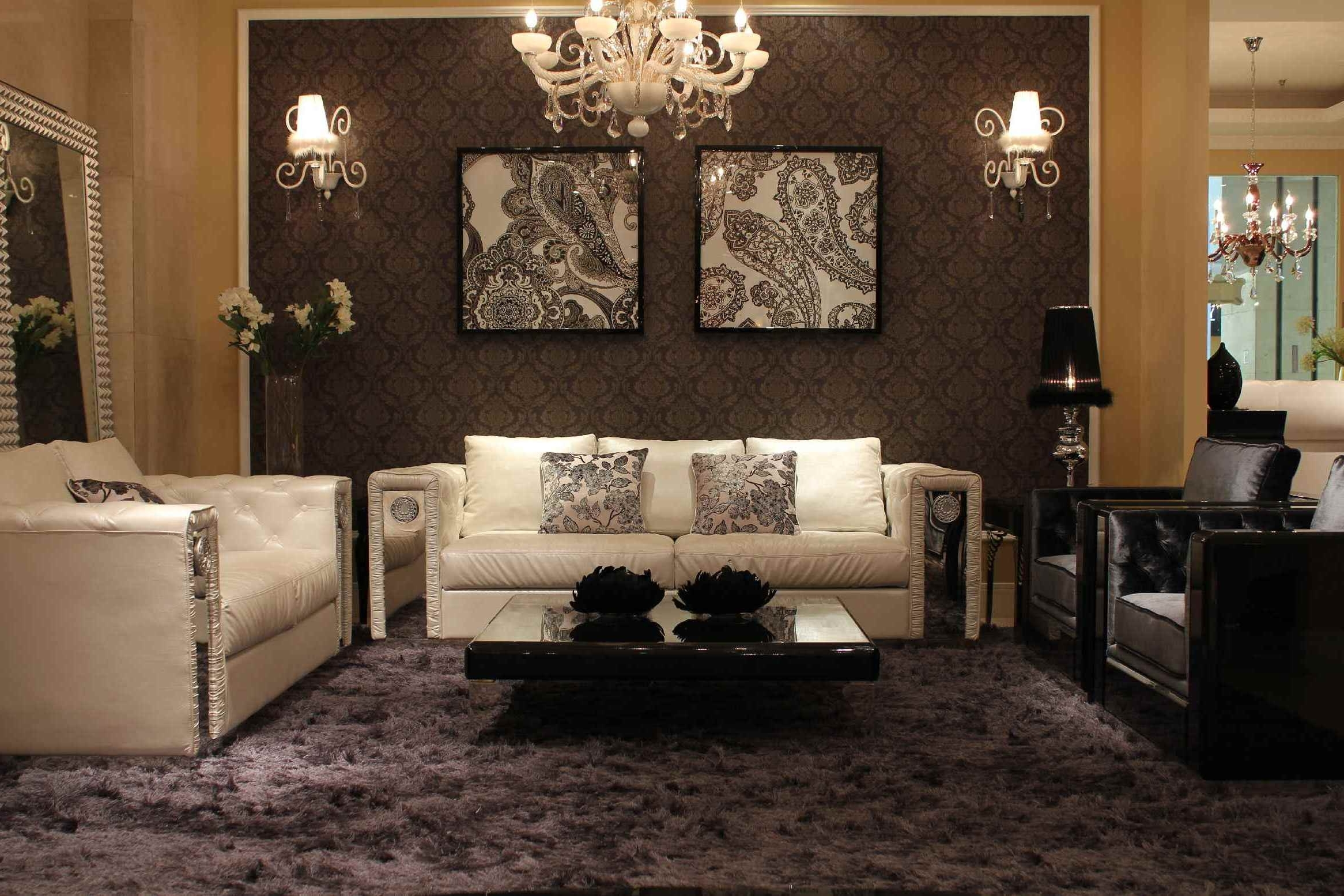 Most Recent Interior Luxury Ideas Of Living With Crystal Chandelier And Wall Intended For Wall Mounted Chandelier Lighting (View 4 of 20)