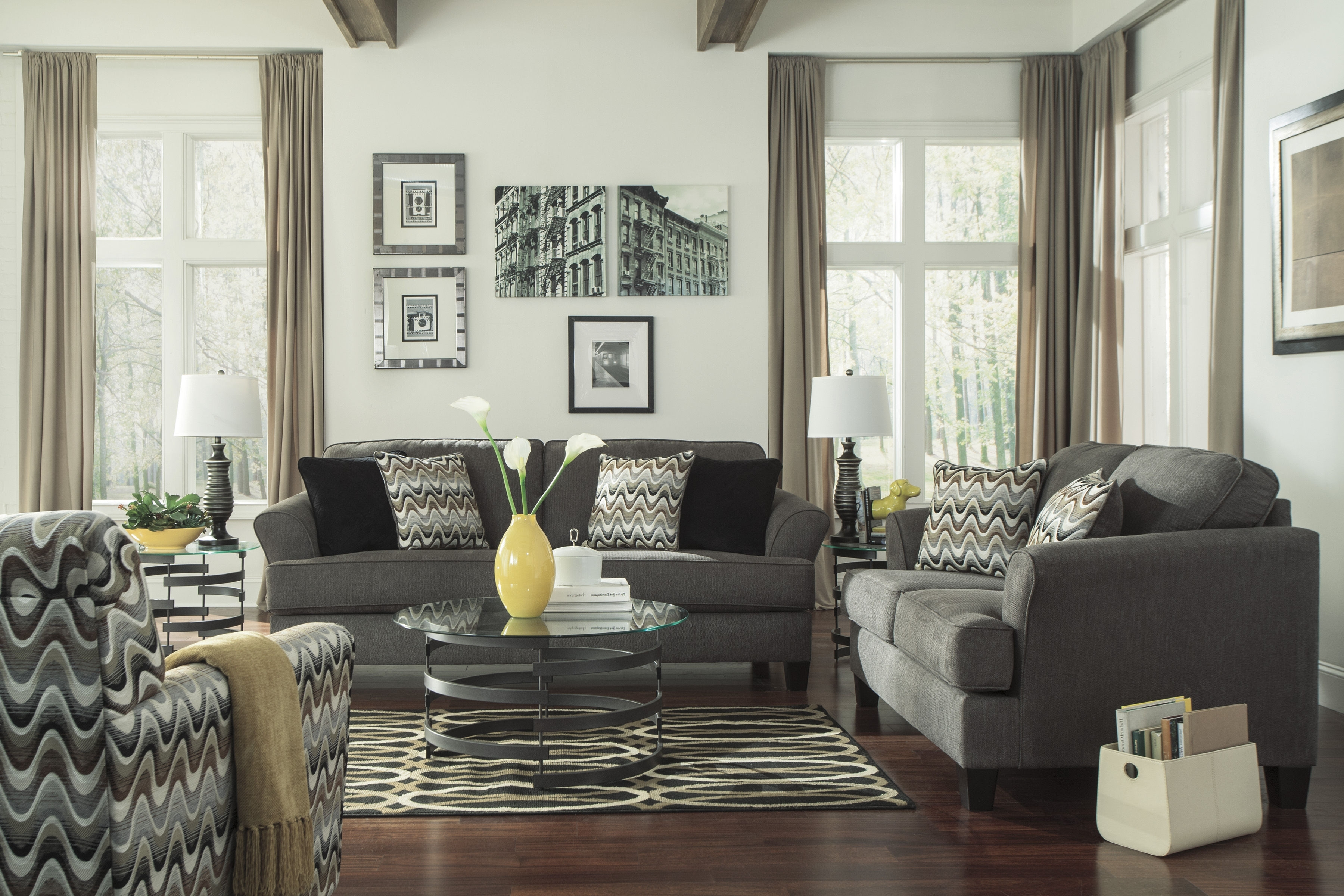 Most Recent Living Room Sofa And Chair Sets Within Ashley Furniture Gayler Steel 3Pc Living Room Set (View 5 of 20)