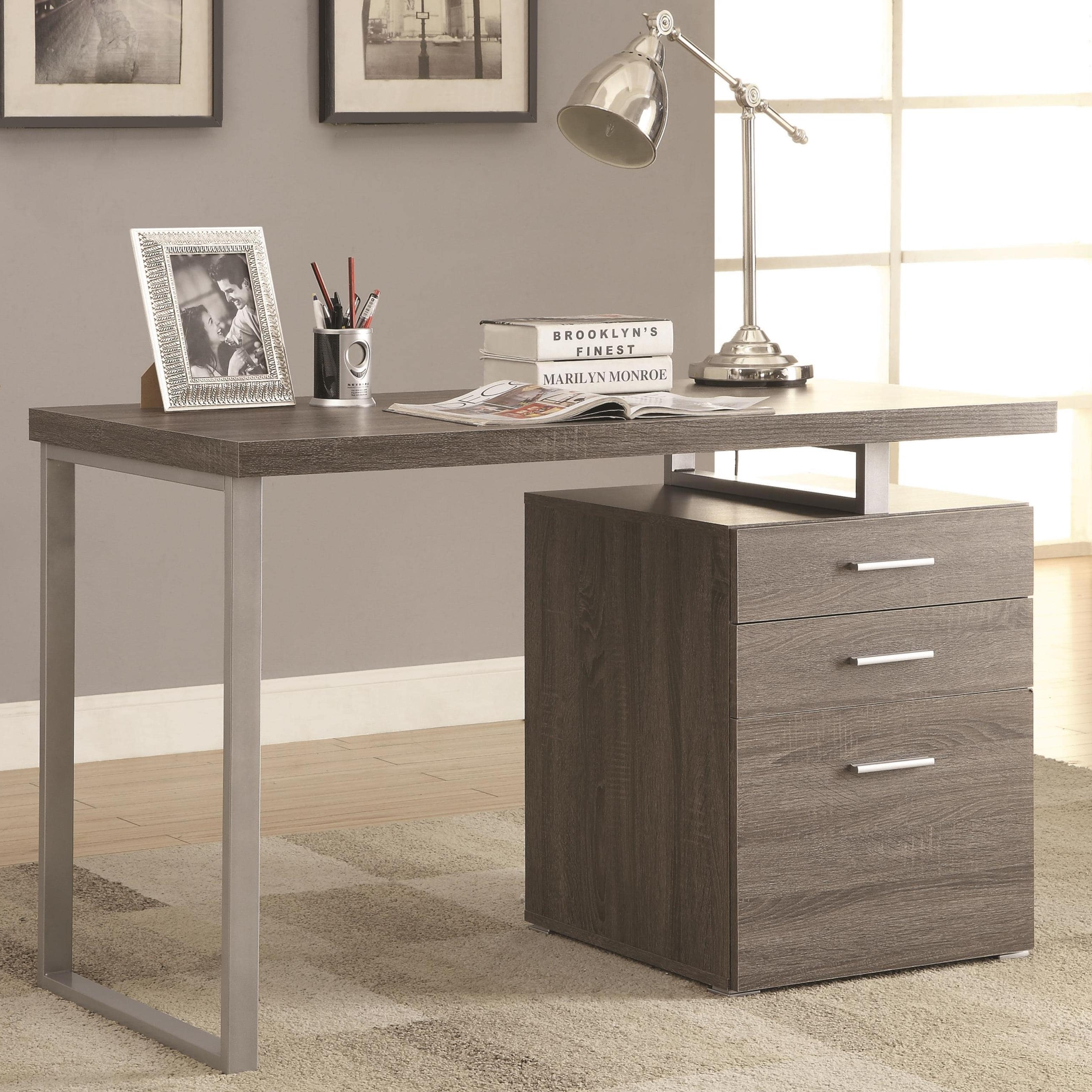 Most Recent Modern Design Home Office Weathered Grey Writing/ Computer Desk In Computer Desks With Drawers (View 11 of 20)
