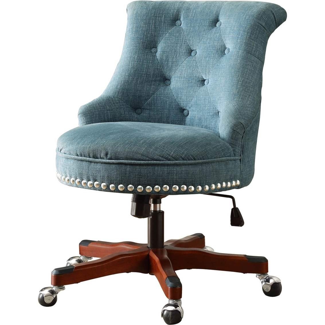 Most Recent Nailhead Executive Office Chairs Pertaining To Linon Sinclair Aqua Office Chair (View 7 of 20)