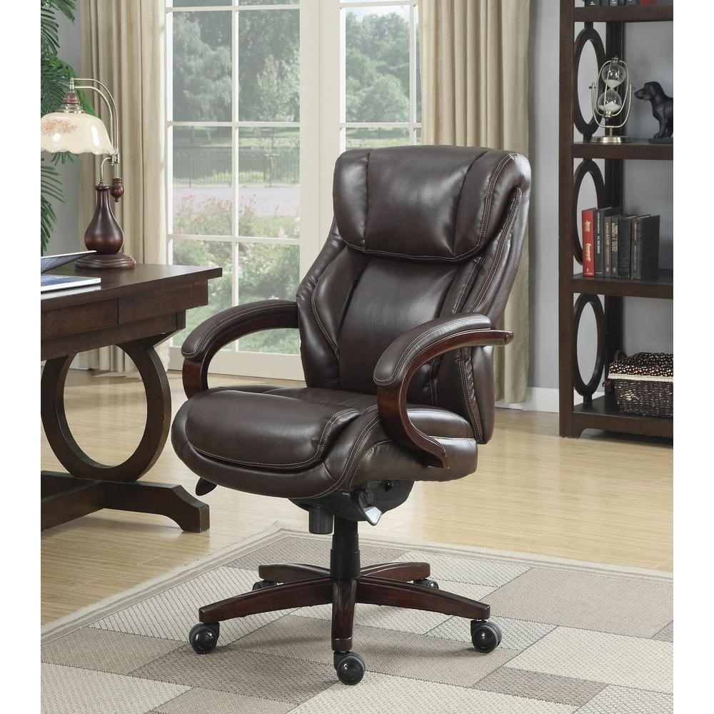 Most Recent Plush Executive Office Chairs In La Z Boy Bellamy Coffee Brown Bonded Leather Executive Office (View 14 of 20)