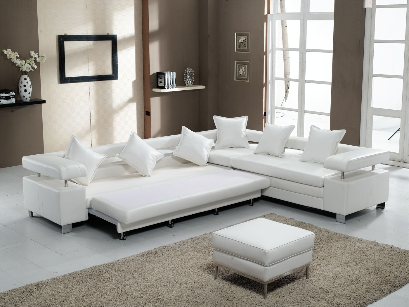 Most Recent Sectional Sleeper Sofas With Ottoman Pertaining To 3 Piece White Leather Sectional Sofa With Stainless Steel Legs And (View 10 of 20)