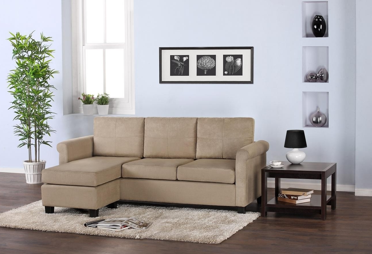 Most Recent Sectional Sofas For Small Living Rooms Throughout Simple Biege Color Scheme L Shaped Fabric Sofa Design For Small (View 12 of 20)