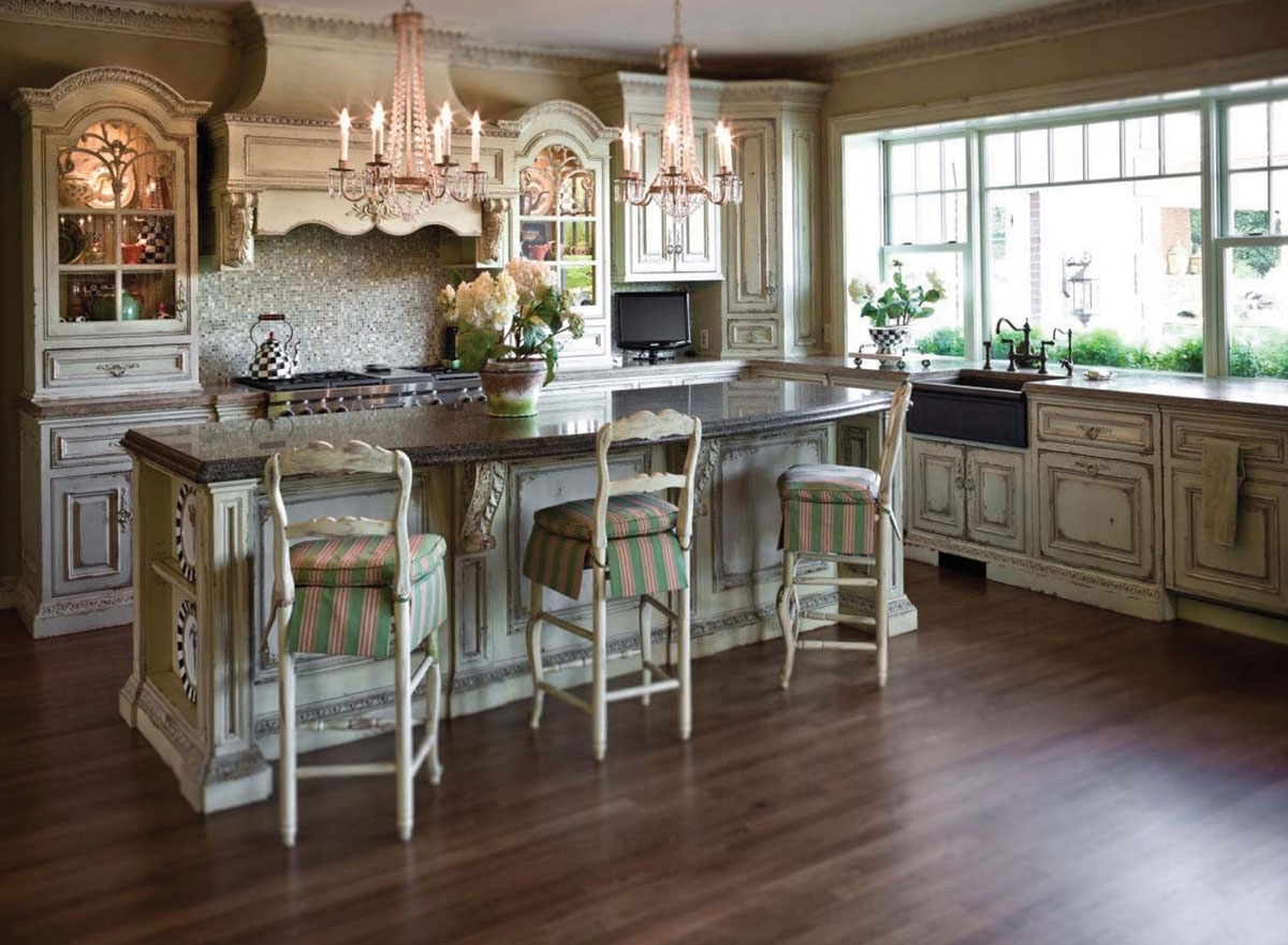 Most Recent Small Rustic Kitchen Chandeliers For Classic And Antique White Kitchen Cabinets Design With Chandelier (View 9 of 20)
