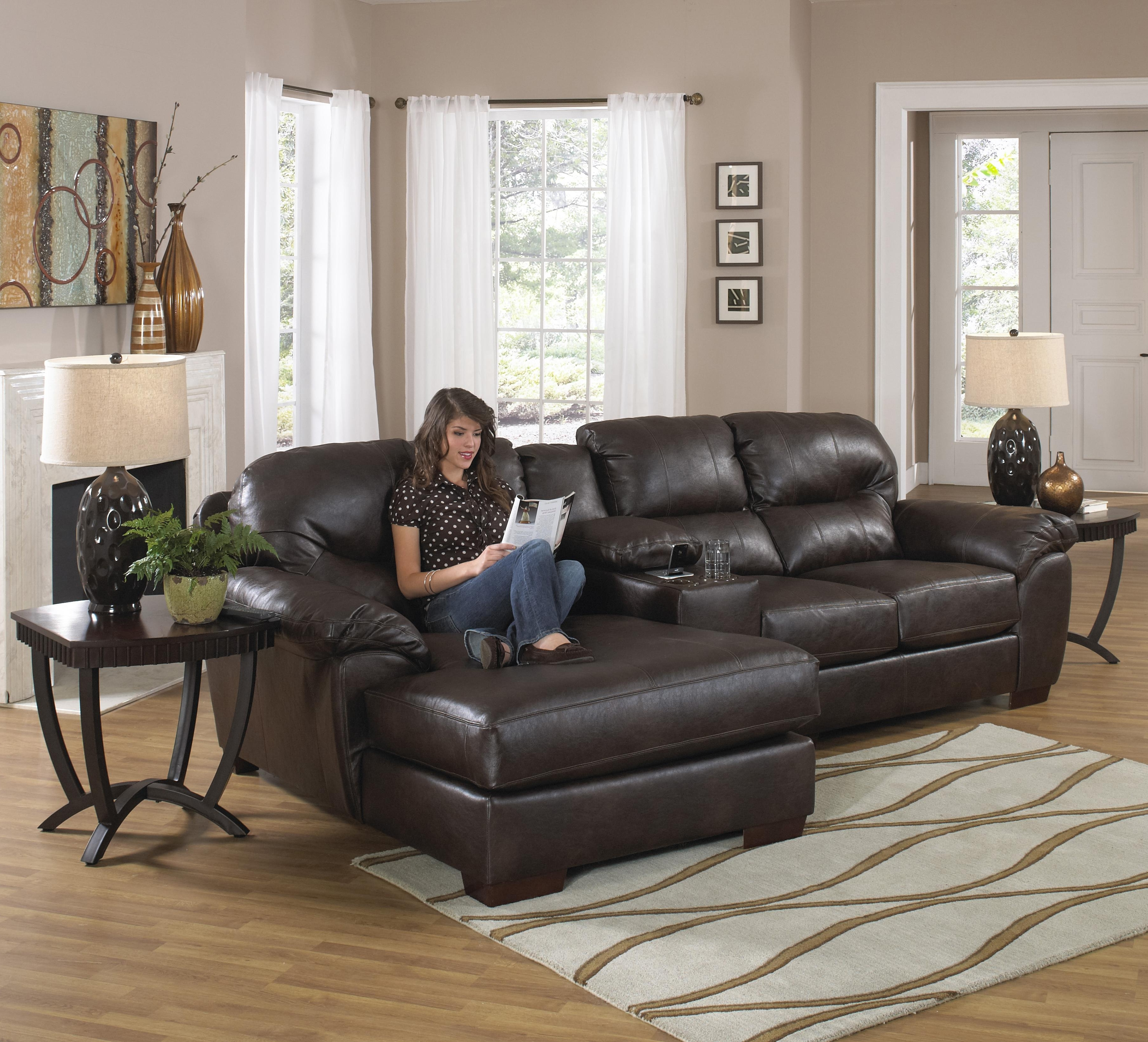 Most Recent Three Seat Sectional Sofa With Console And Chaisejackson With Long Chaise Sofas (View 19 of 20)