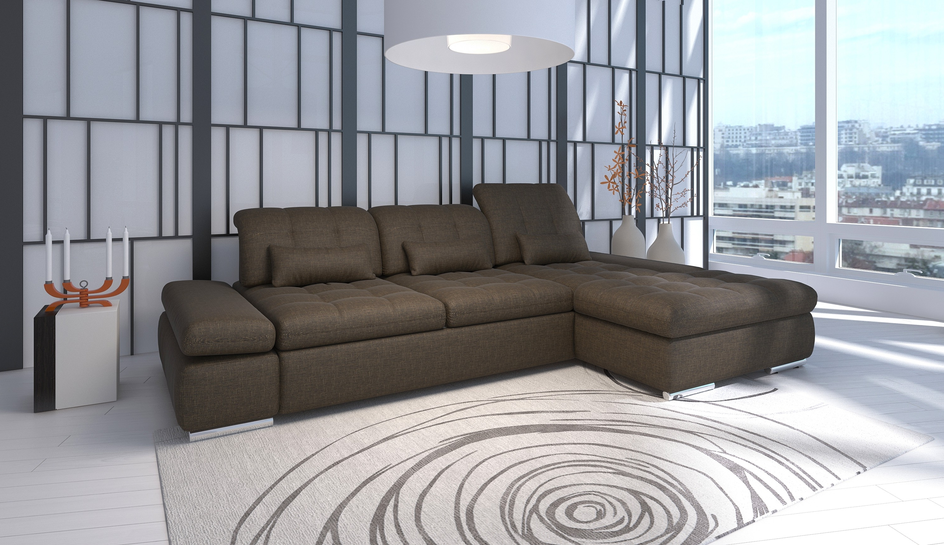 Most Recent Trinidad And Tobago Sectional Sofas In Alpine Sectional Sofa (View 6 of 20)