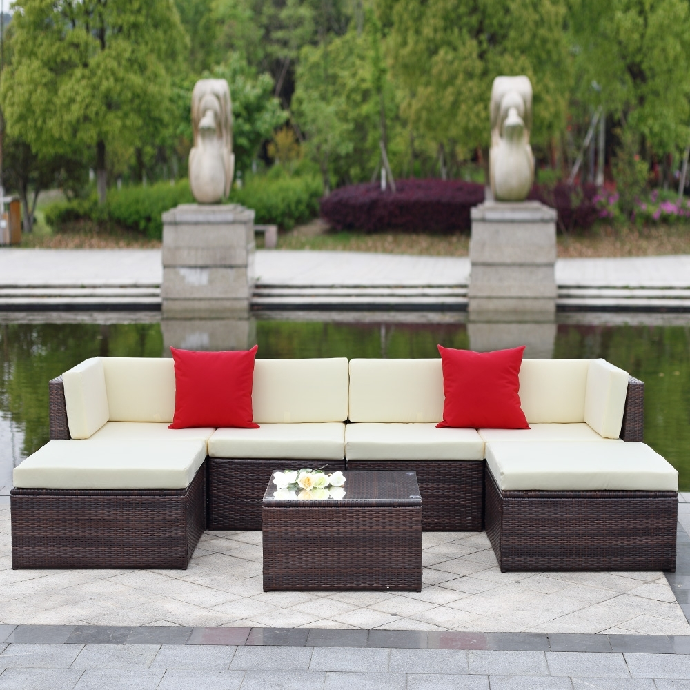 Most Recent Trinidad And Tobago Sectional Sofas In Brown Ikayaa 7pcs Outdoor Patio Garden Rattan Wicker Sectional (View 15 of 20)