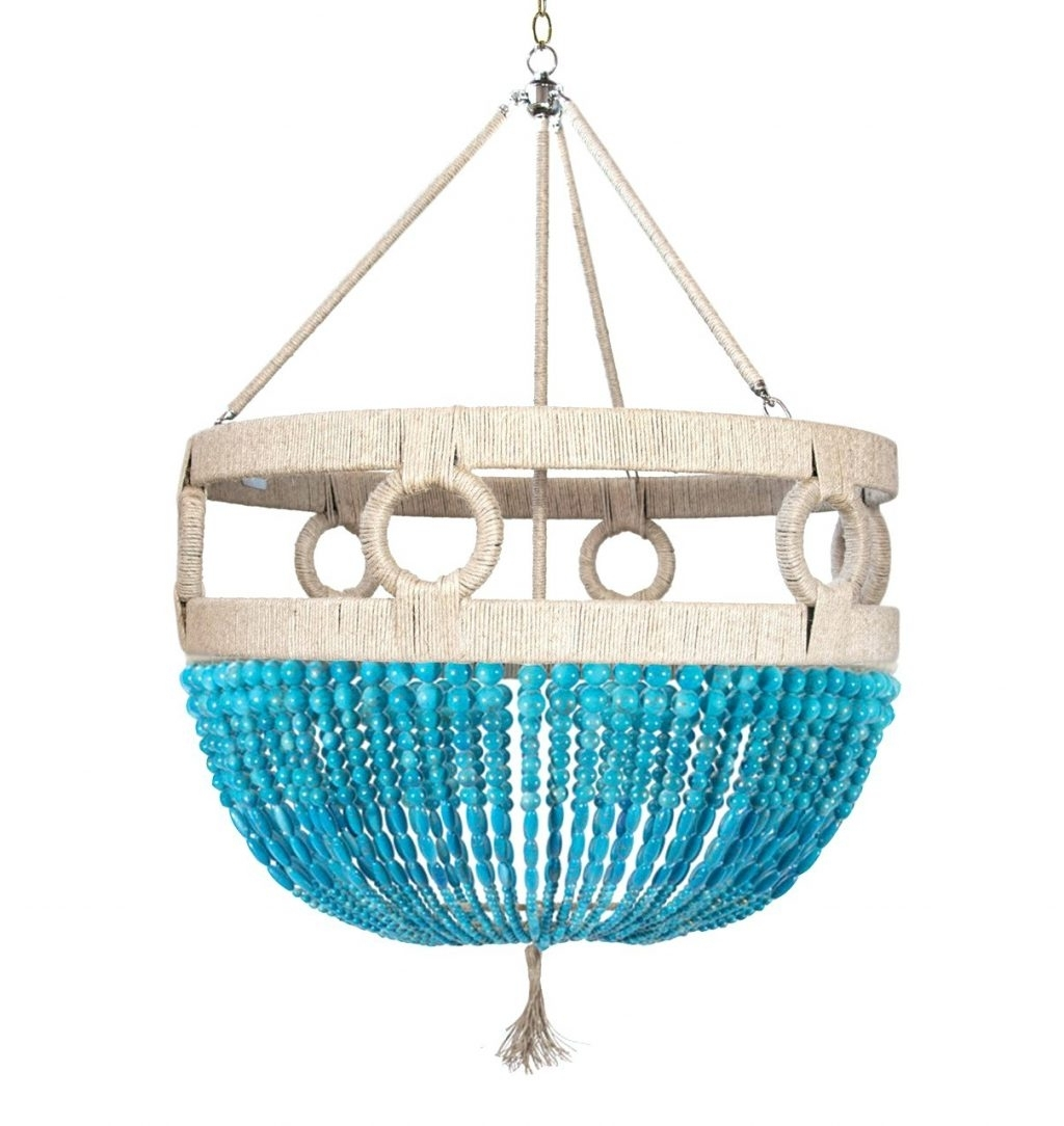 Most Recent Turquoise Beads Six Light Chandeliers Pertaining To Chandeliers ~ Blue Beaded Chandelier Turquoise Beads Six Light (View 12 of 20)
