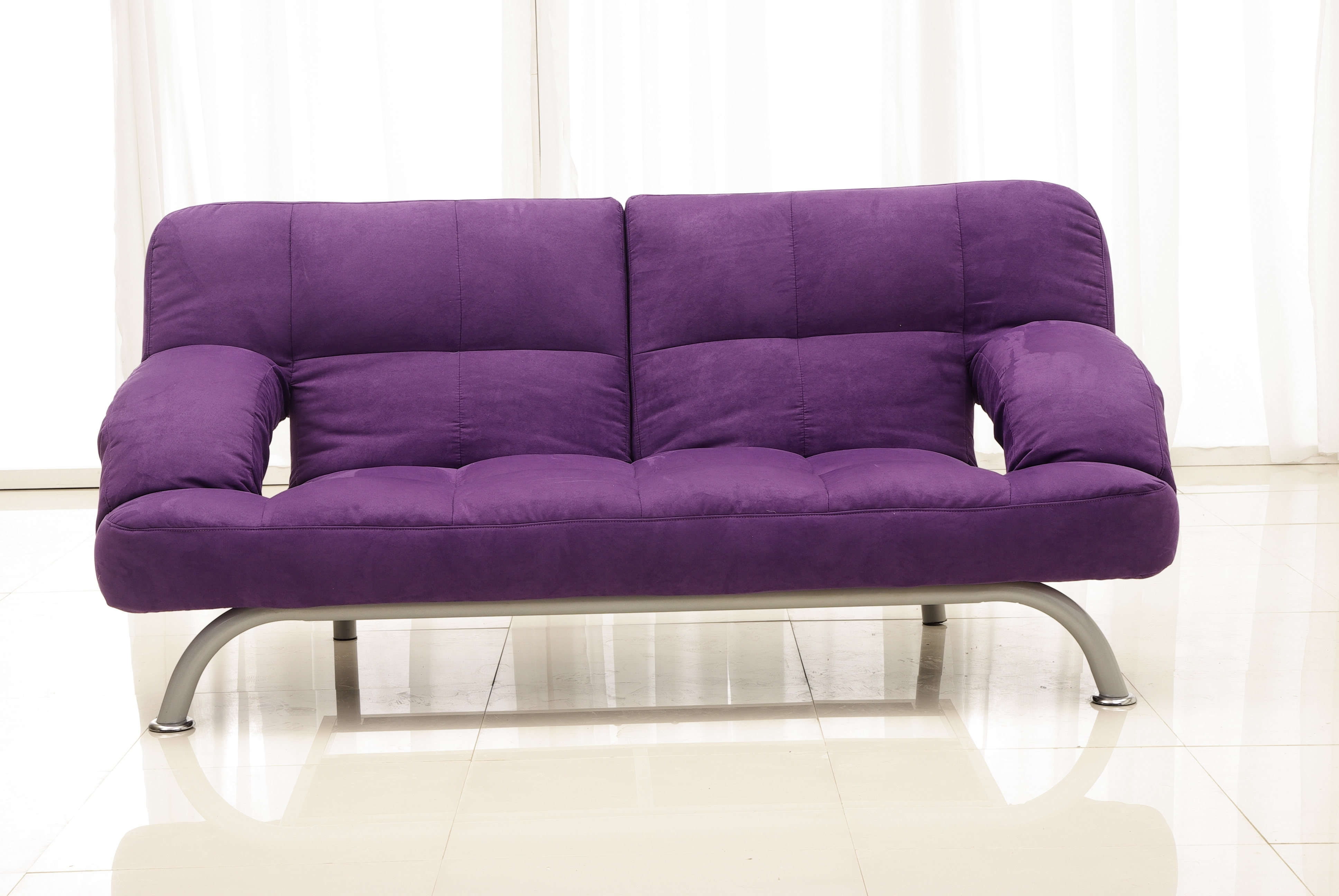 Most Recent Velvet Purple Sofas With Purple Leather Sofa With Backrest And Stainless Steel Base On (View 10 of 20)