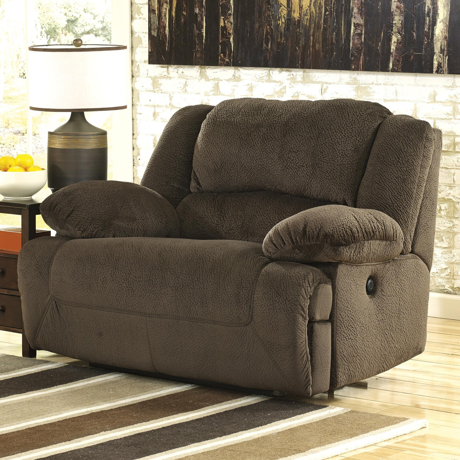 Most Recent Wide Sofa Chairs Intended For Signature Designashley Toletta – Chocolate Wide Seat Power (View 7 of 20)