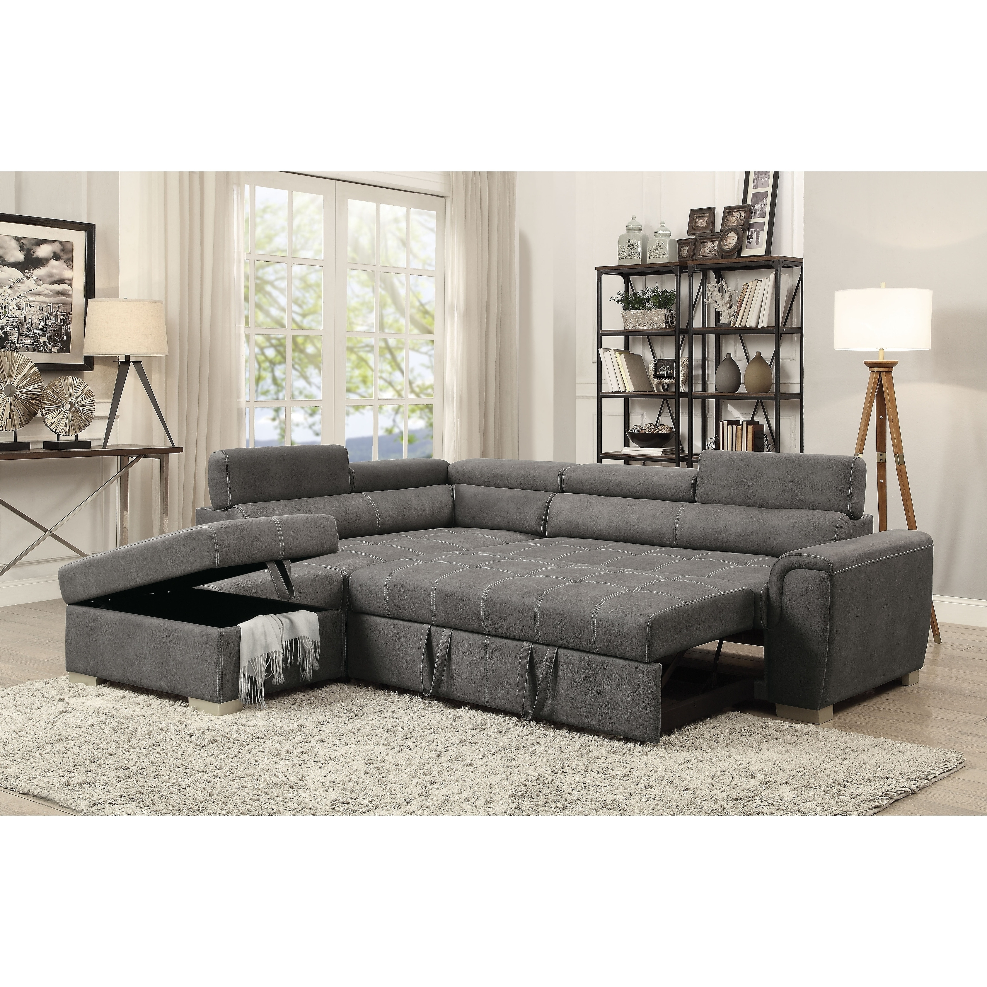 Most Recently Released Acme Thelma Grey Microfiber L Shaped Sectional Sofa With Sleeper Inside Sofas With Chaise And Ottoman (View 16 of 20)