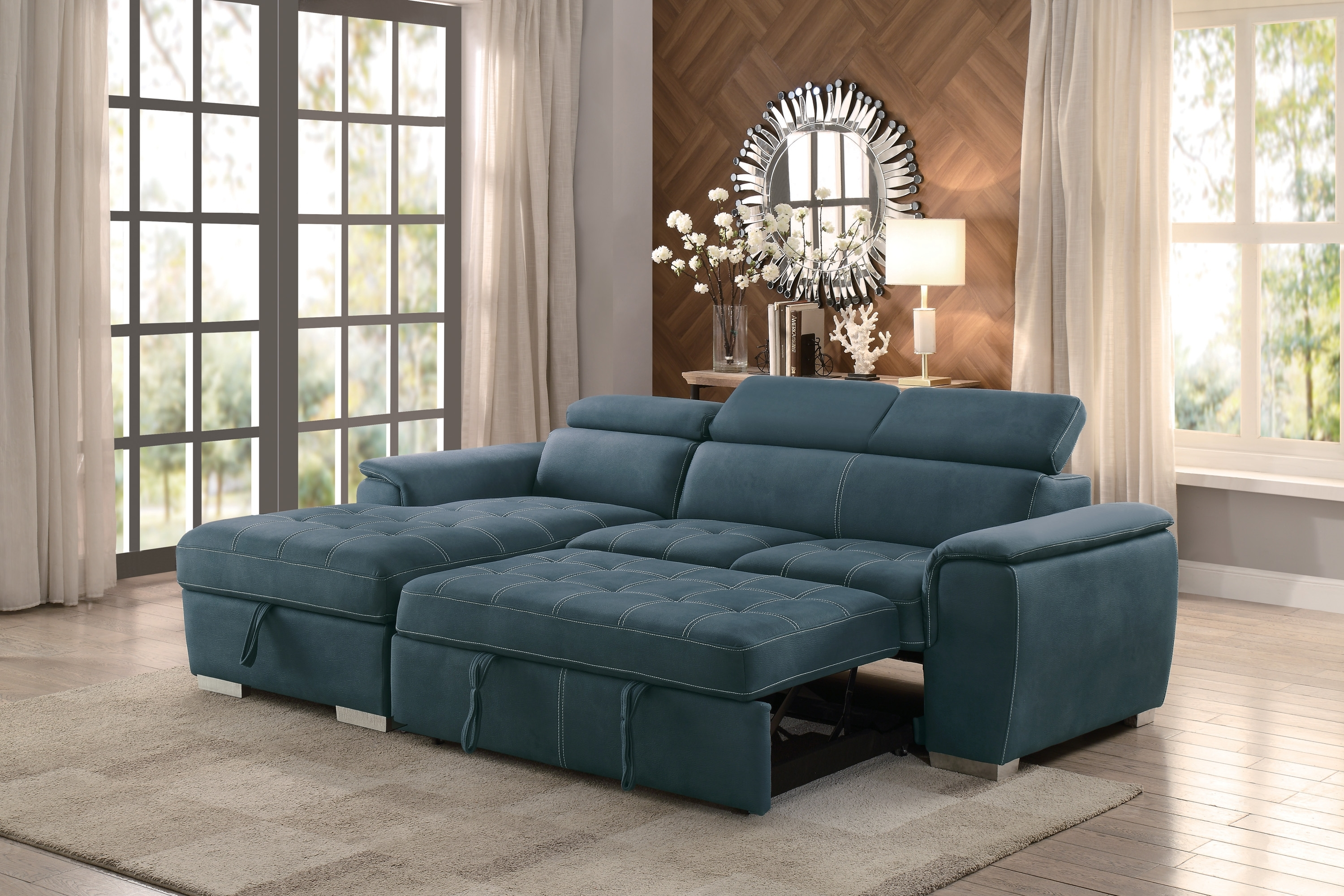 Most Recently Released Adjustable Sectional Sofas With Queen Bed With Regard To Ferriday Modern Style Blue Polyester Fabric Sectional Pull Out Bed (View 13 of 20)