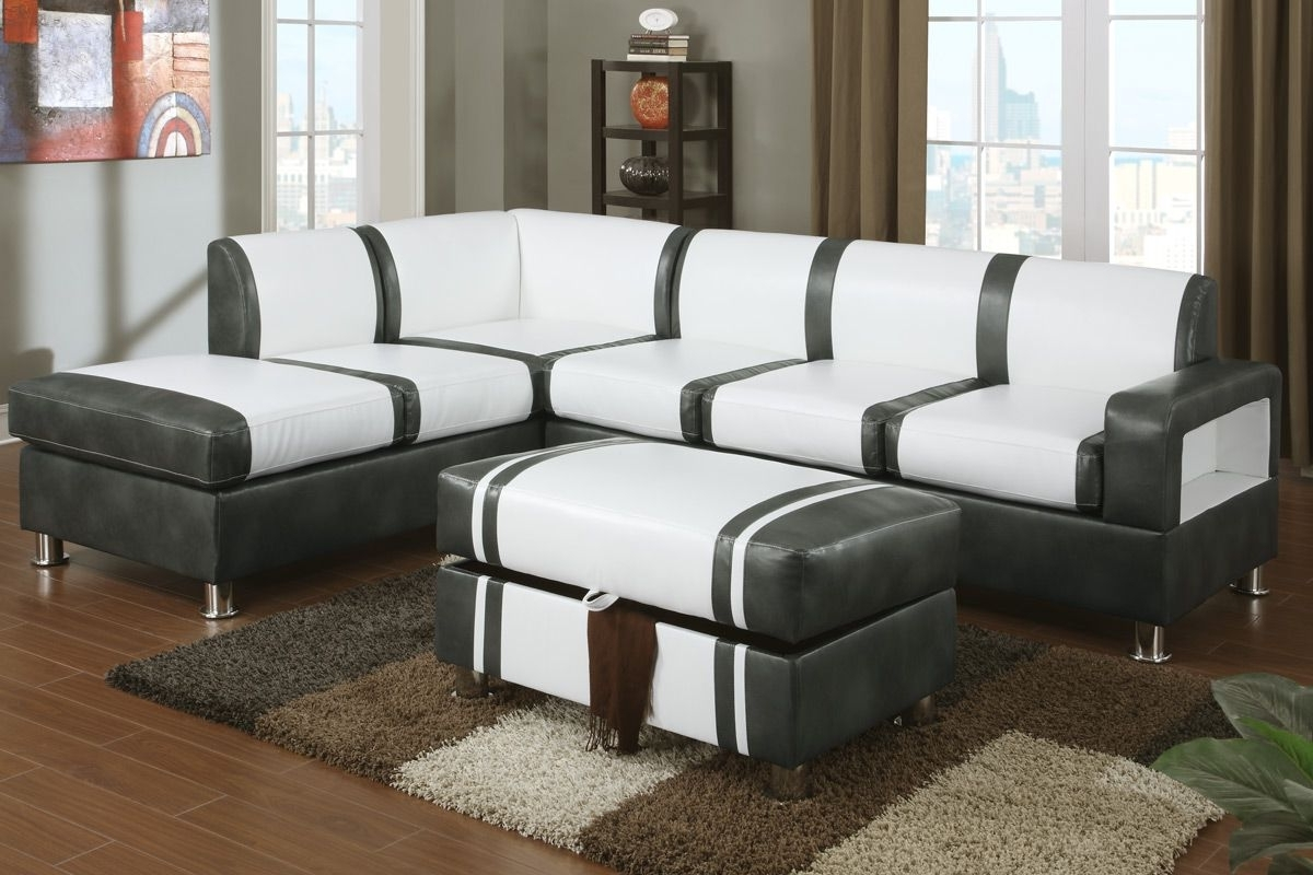 Most Recently Released Barnes Cream And Gray Bonded Leather Sectional Sofa With Ottoman Throughout Sectionals With Ottoman (View 7 of 20)