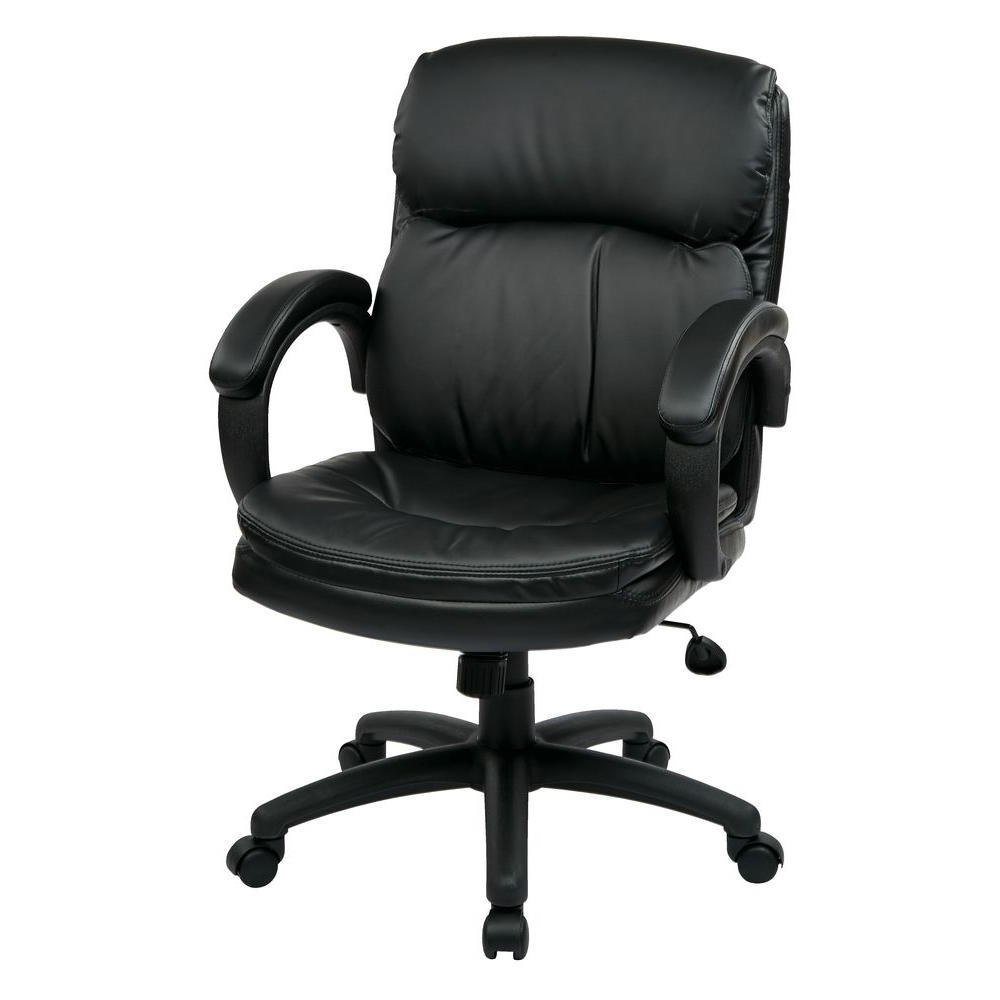 Most Recently Released Black Executive Office Chairs In Work Smart Black Eco Leather Mid Back Executive Office Chair (View 5 of 20)