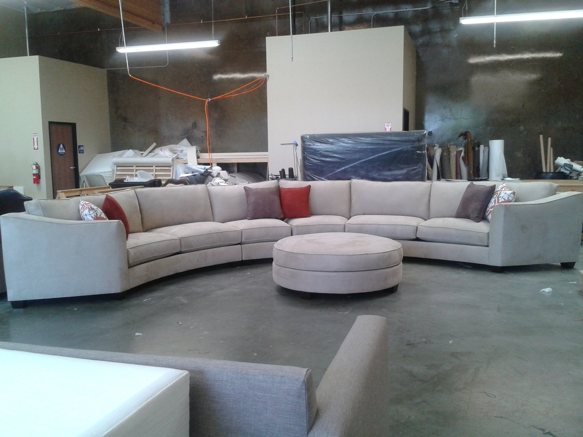 Most Recently Released Curved Sectional Sofa Set Rich Comfortable Upholstered Fabric In Regarding Round Sectional Sofas (View 6 of 20)