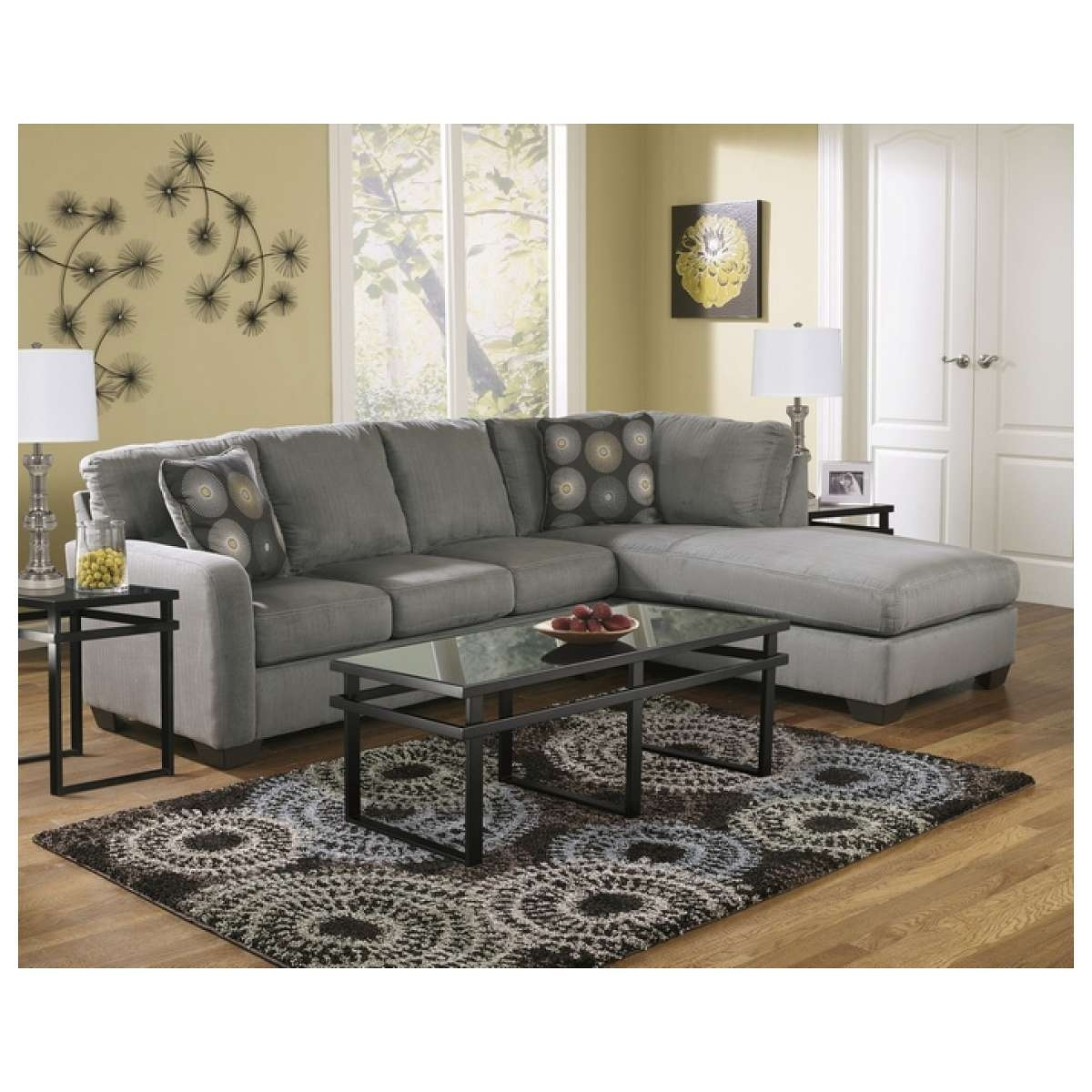 Most Recently Released Eau Claire Wi Sectional Sofas Within Ashley Furniture 2 Pc Zella Collection Charcoal Plush Fabric (View 12 of 20)