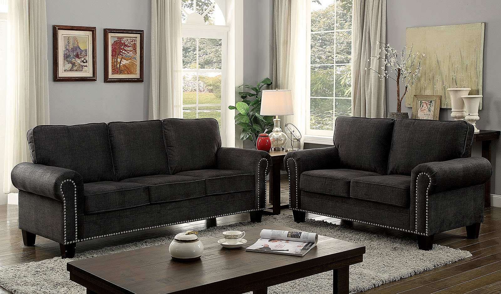 Most Recently Released Elwick Dark Gray Fabric Sofa Loveseat Set W/ Rolled Arms Intended For Fabric Sofas (View 15 of 20)
