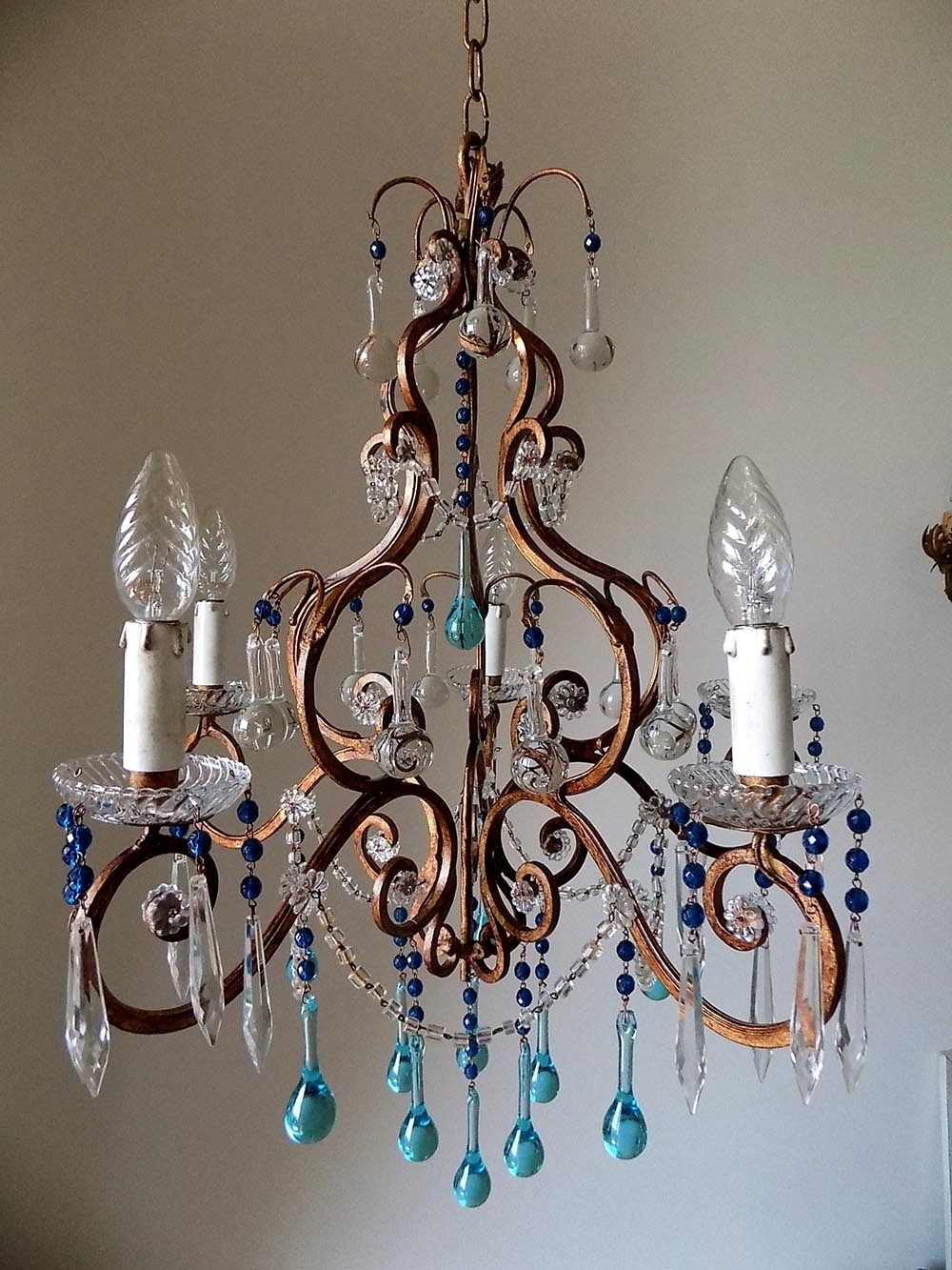 Most Recently Released Florence Vintage Wrought Iron Birdcage Chandelier, Murano Drops With Regard To Turquoise Birdcage Chandeliers (View 3 of 20)