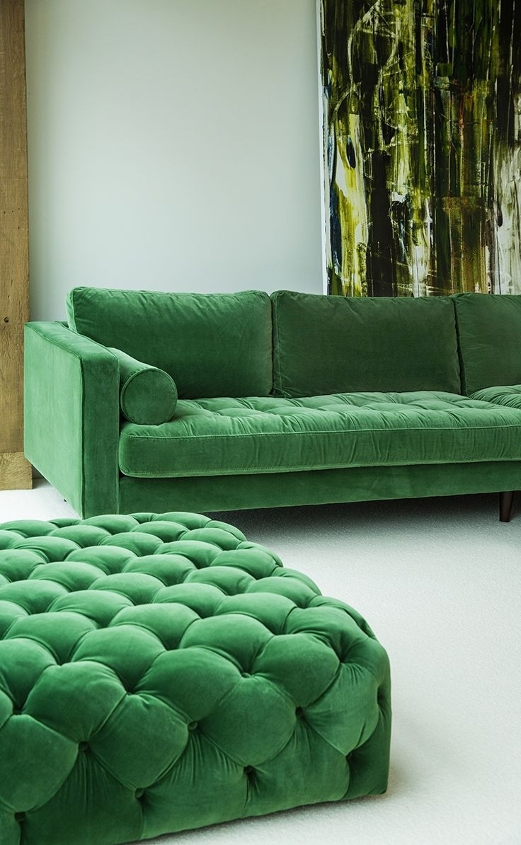 Most Recently Released Green Sectional Sofas Within Green Velvet Sectional Sofa (View 8 of 20)