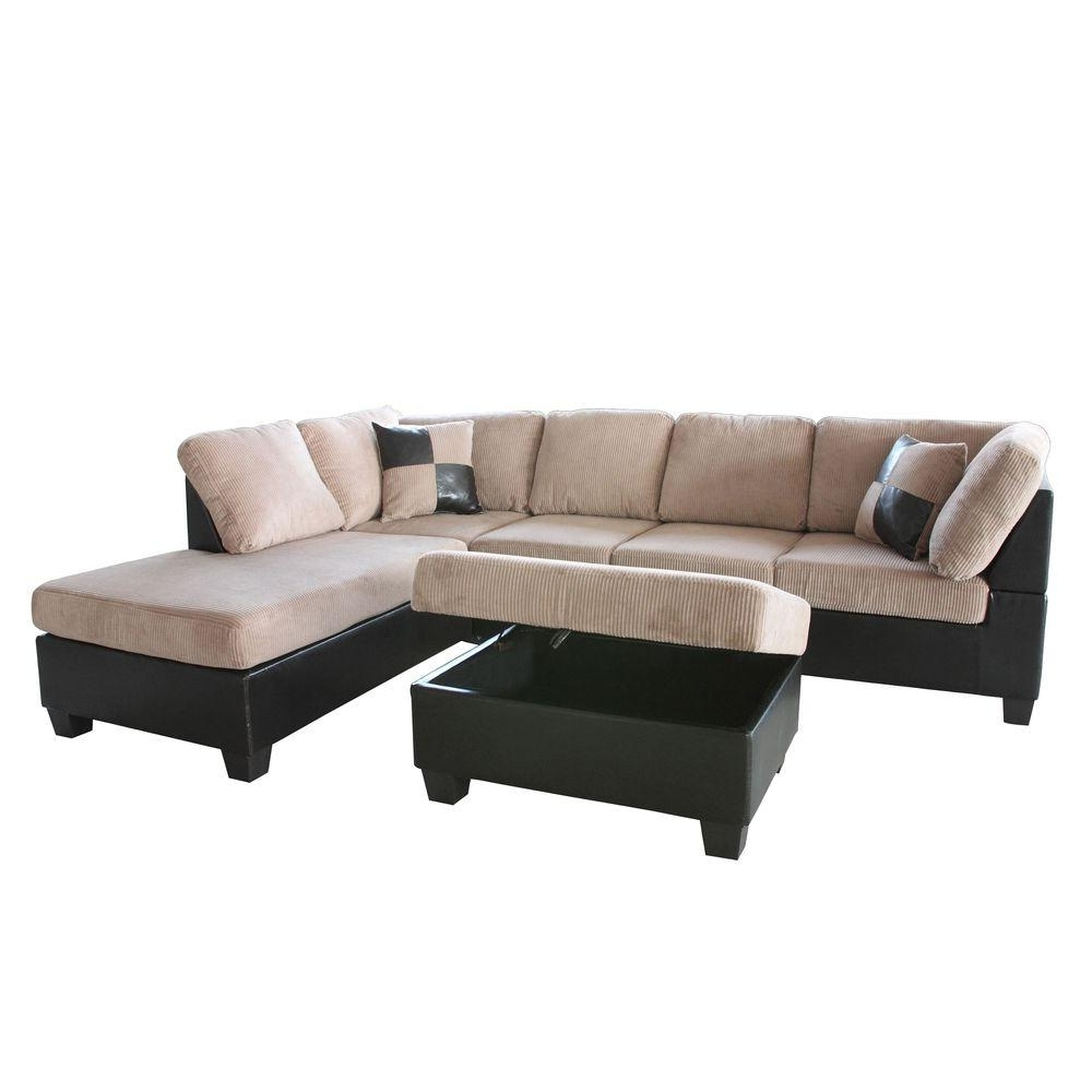 Most Recently Released Home Depot Sectional Sofas For Venetian Worldwide Taylor 2 Piece Saddle Brown Corduroy Sectional (View 3 of 20)