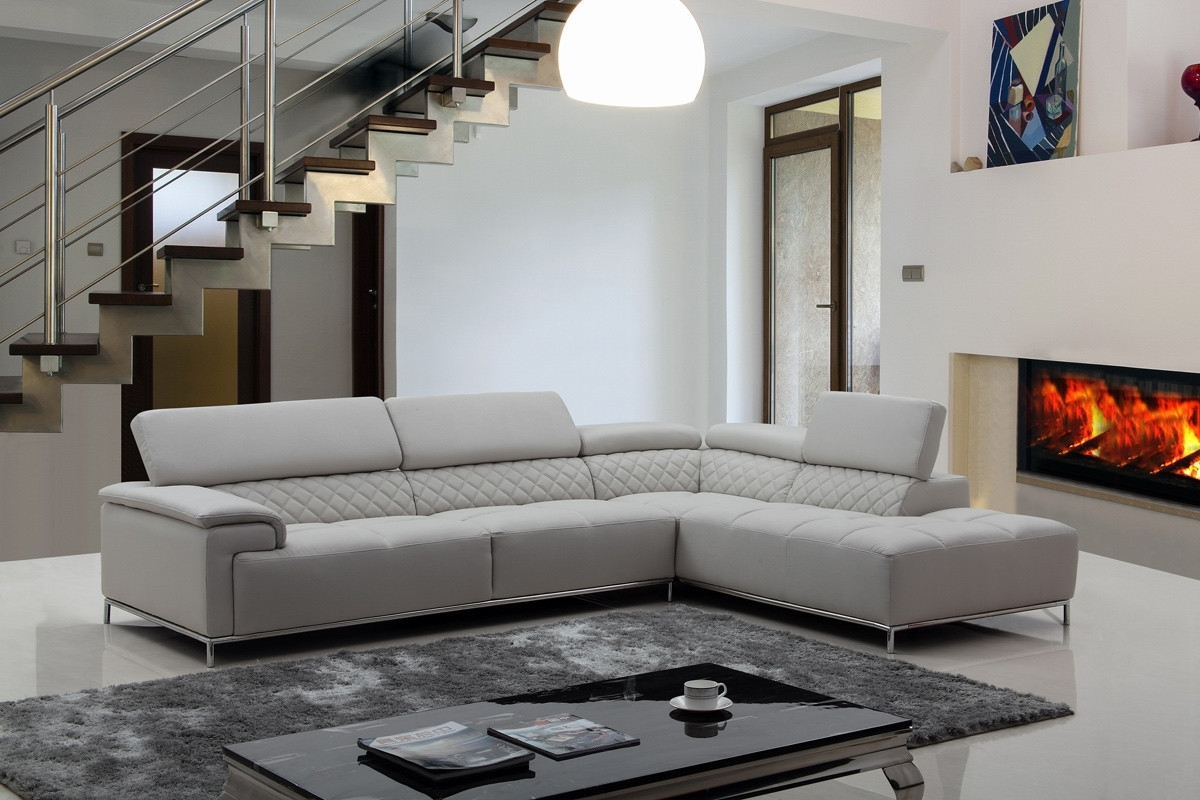 Most Recently Released Light Grey Sectional Sofas Throughout Divani Casa Citadel Modern Light Grey Eco Leather Sectional Sofa W (View 16 of 20)