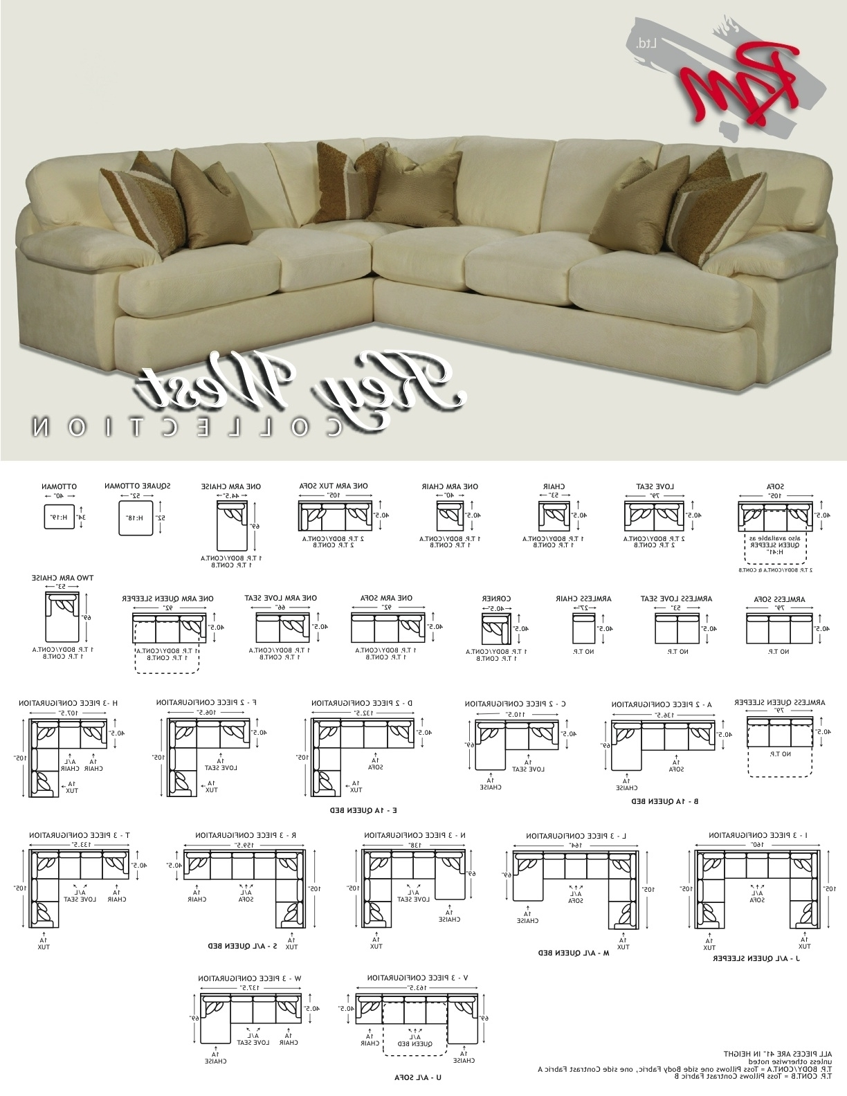 Most Recently Released Measurements Sectional Sofas With Michael Key West Dimensions Sofa Sectionals (View 19 of 20)