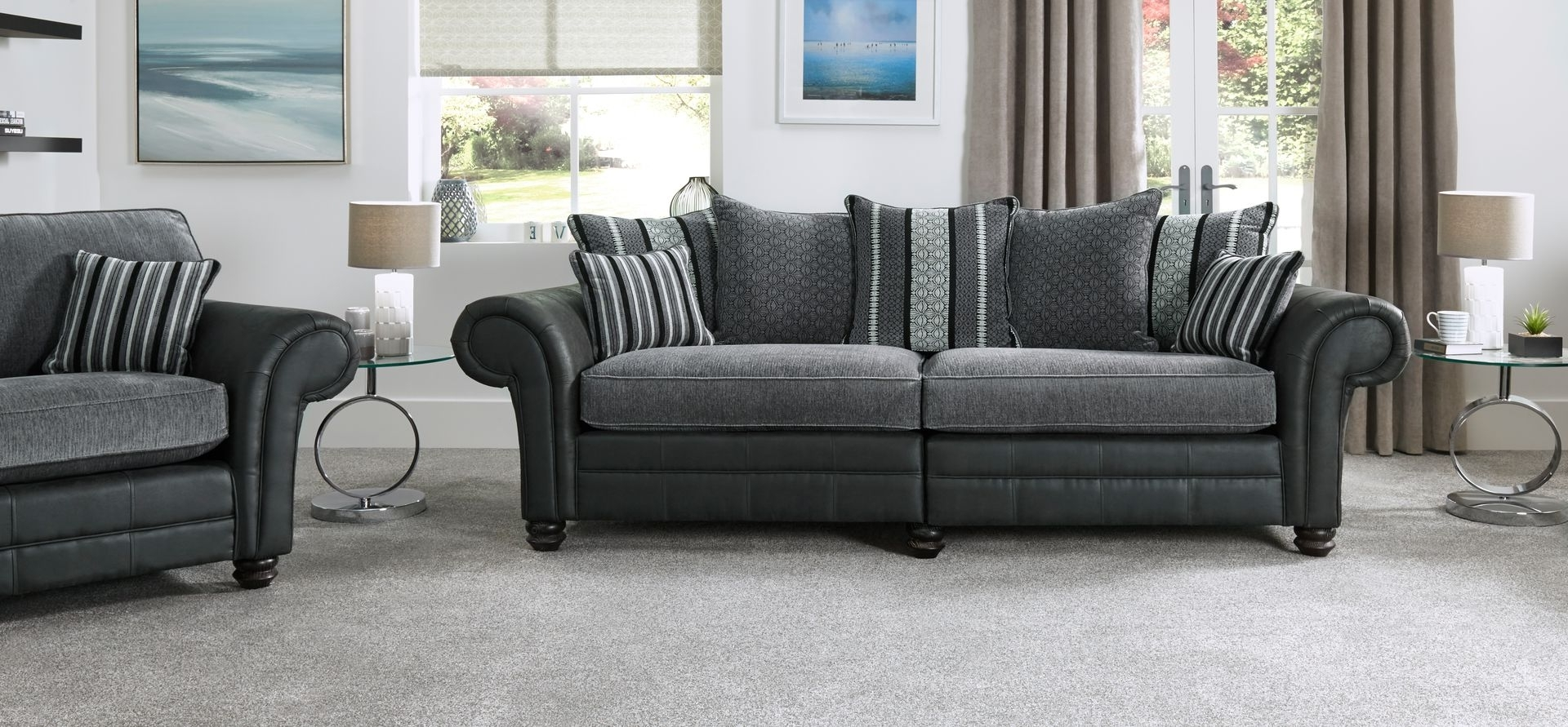 Most Recently Released Milan 4 Seater Scatter Back Fabric Split Sofa (View 19 of 20)