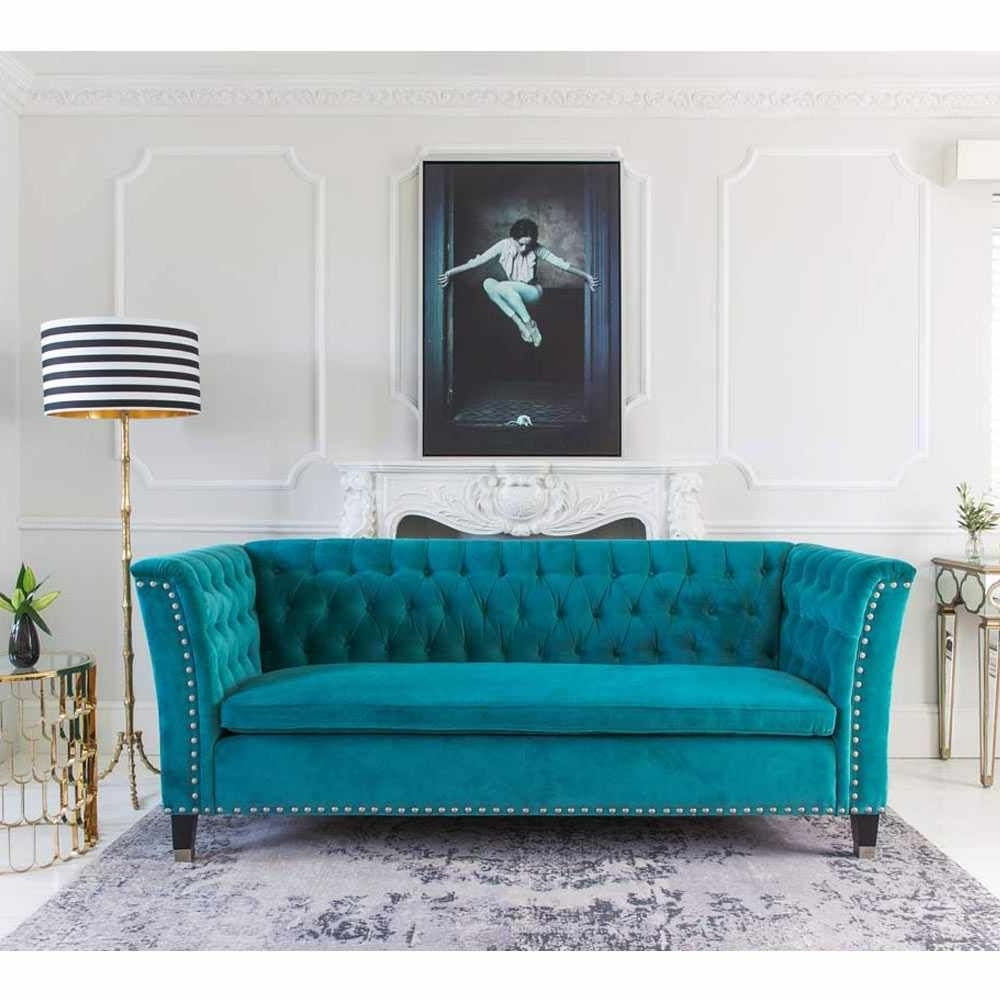 Most Recently Released Nightingale Teal Blue Velvet Sofa (View 8 of 20)