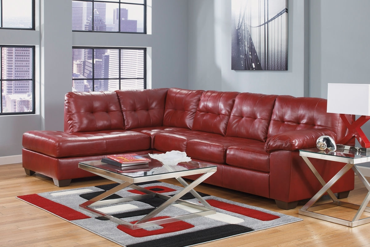 Most Recently Released Red Leather Sectionals With Ottoman Within Salsa Bonded Leather Sectional At Gardner White (View 9 of 20)