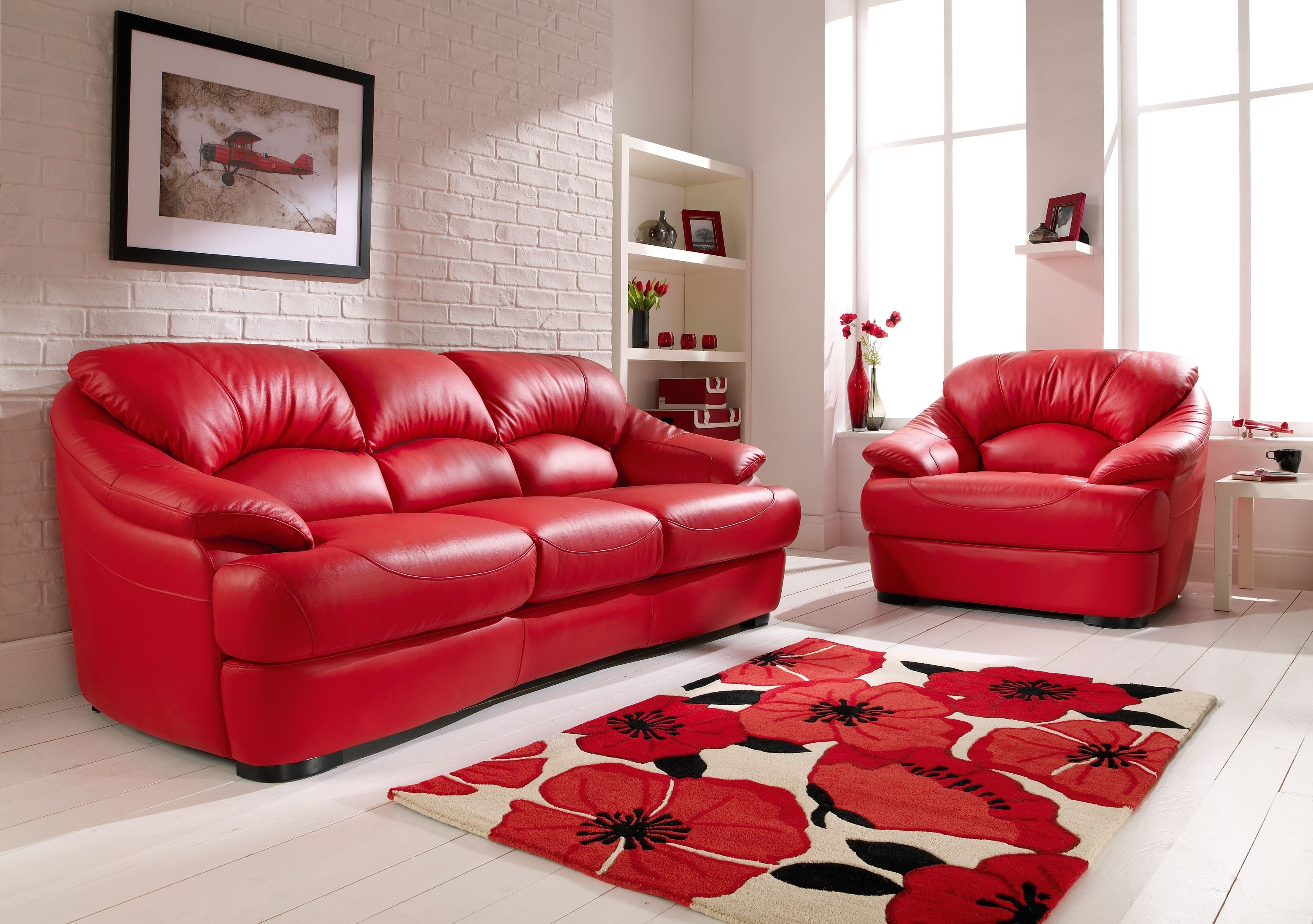 Explore Gallery of Red Leather Couches And Loveseats ...