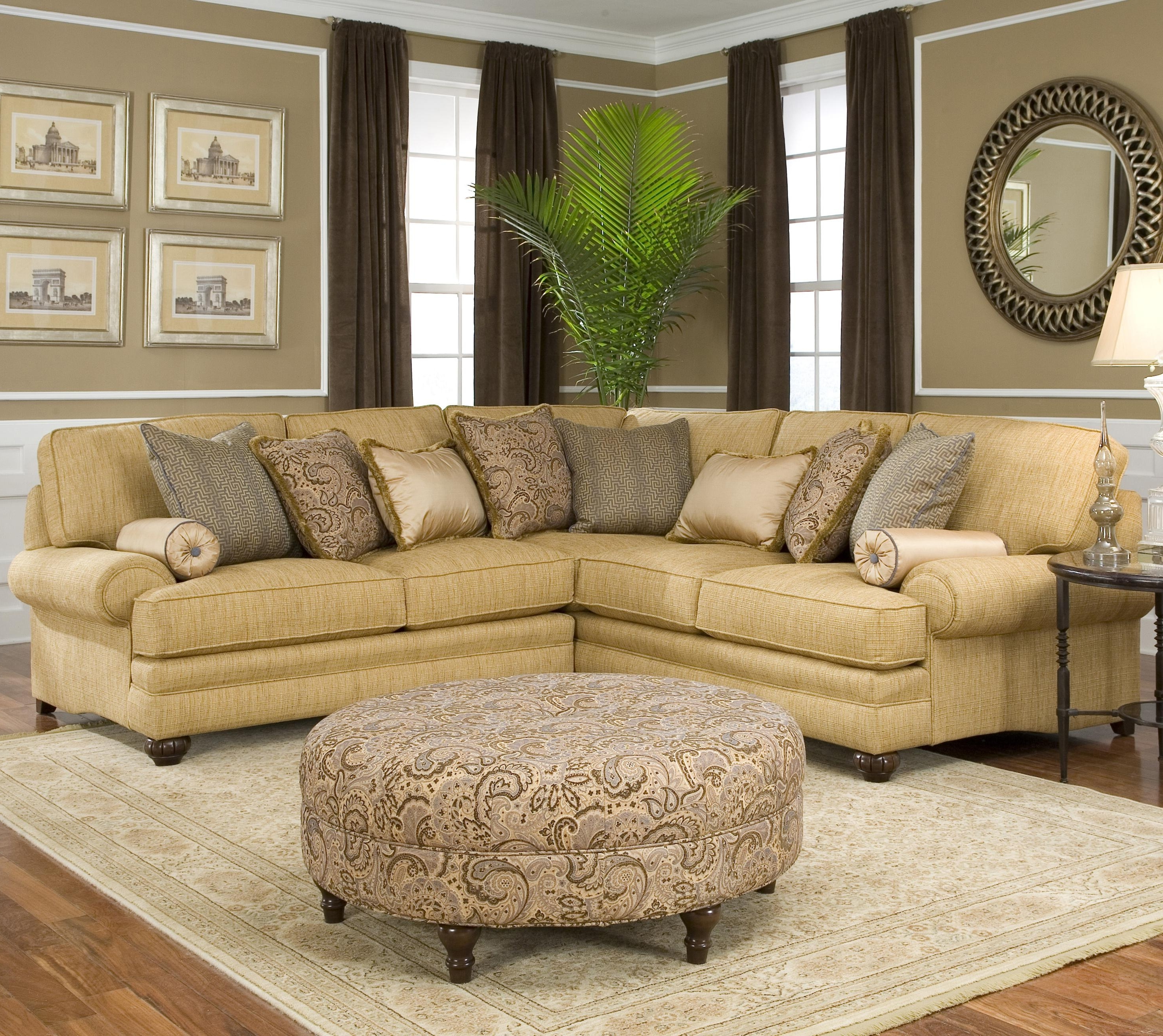 Most Recently Released Smith Brothers 376 Traditional Styled Corner Sectional Sofa With Rounded Corner Sectional Sofas (View 13 of 20)