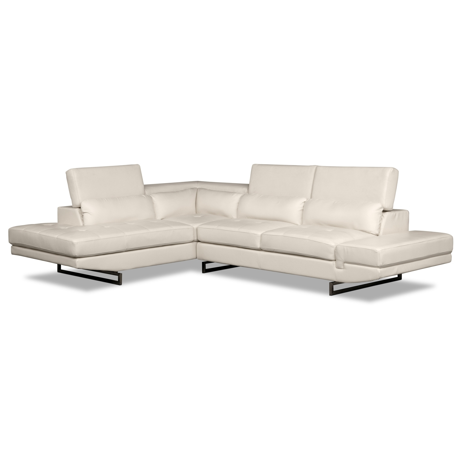Most Recently Released Value City Sectional Sofas Pertaining To Living Room Design: Comfy White Leather Sectional For Small Spaces (View 9 of 20)