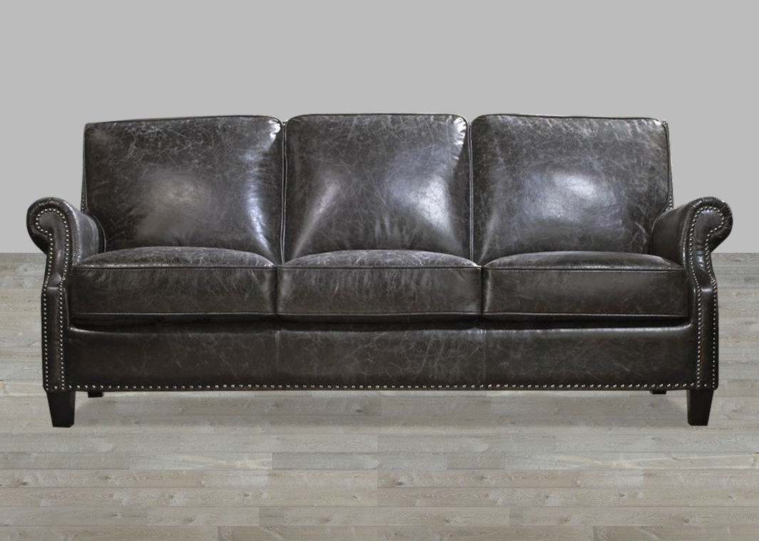 Most Recently Released Vintage Sofas Inside Charcoal Top Grain Vintage Leather Sofa (View 11 of 20)