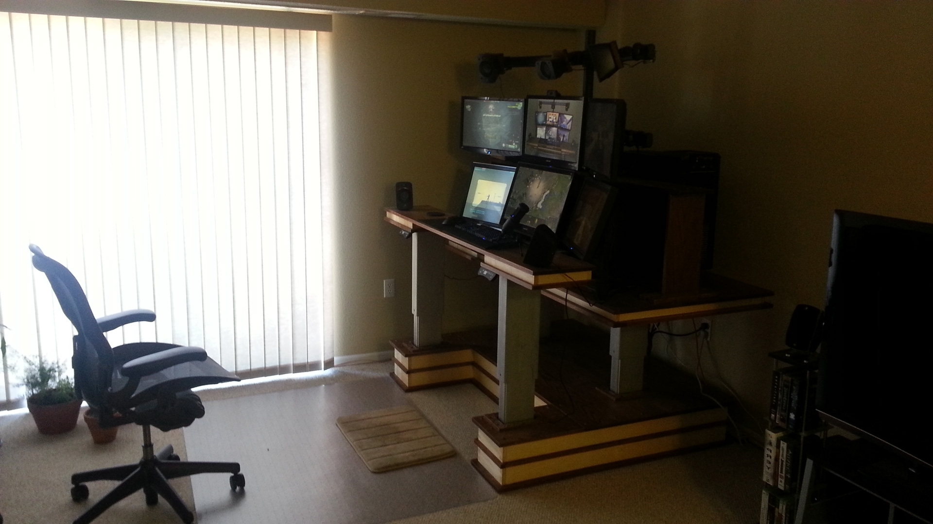 Most Recently Released Wood Multiple Monitor Computer Desk Pdf Plans ~ Idolza In Computer Desks For 3 Monitors (View 18 of 20)