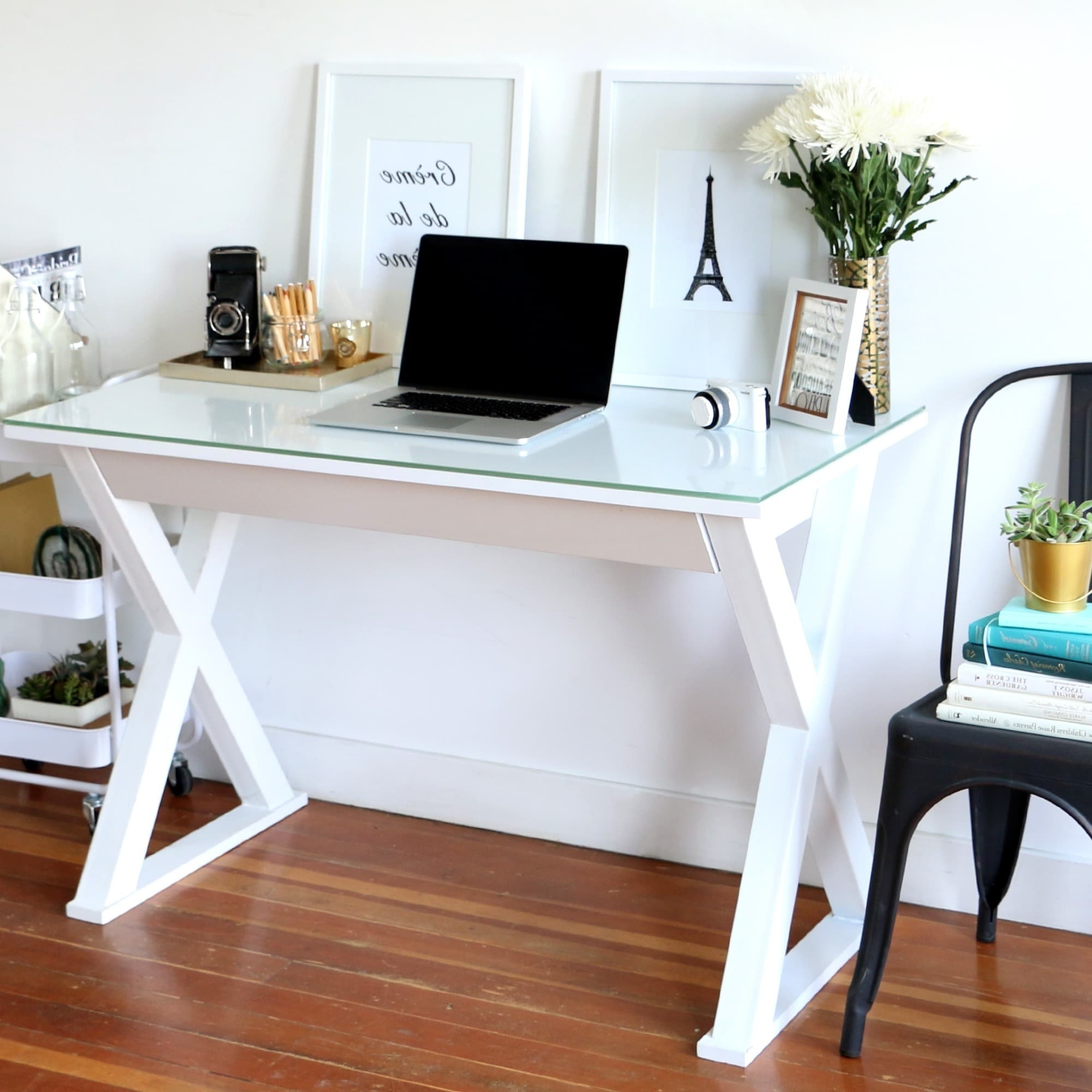 Most Up To Date 48 Inch White Glass Metal Computer Desk – Free Shipping Today Throughout White Computer Desks (View 7 of 20)