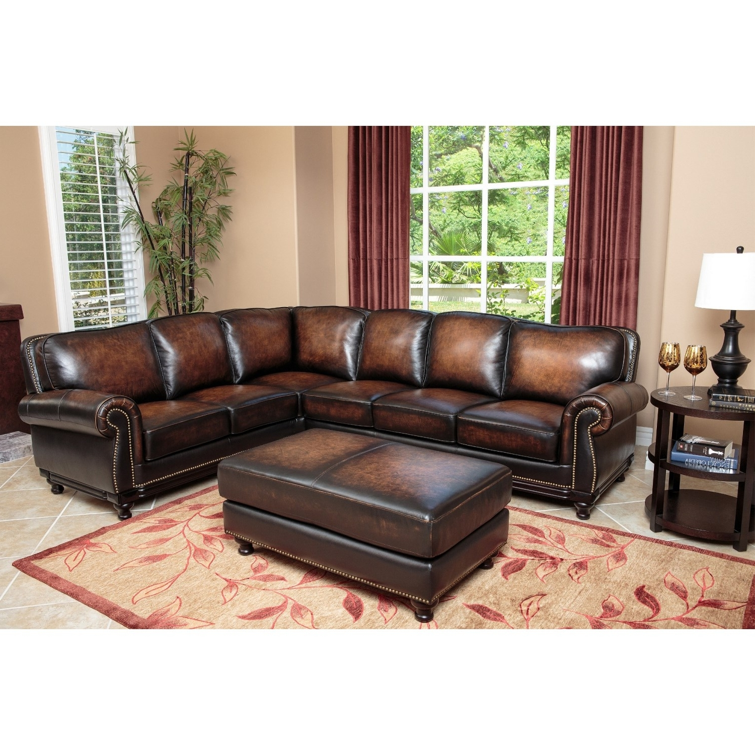 Most Up To Date Abbyson Living Sk 5304 Brn Set Nizza Woodtrim Hand Rubbed Leather For Abbyson Sectional Sofas (View 2 of 20)