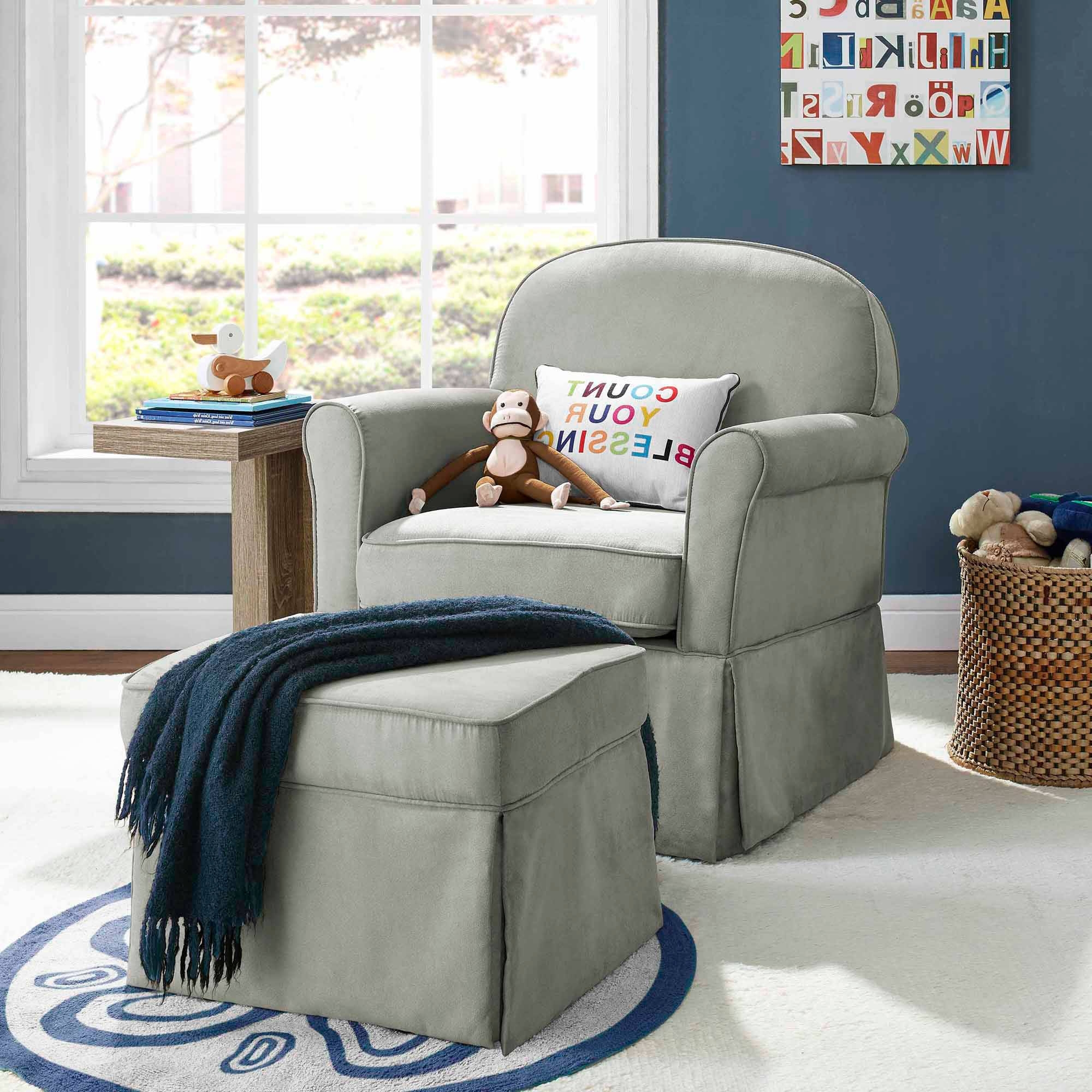 Most Up To Date Baby Relax Evan Swivel Glider And Ottoman Gray – Walmart In Gliders With Ottoman (View 12 of 20)