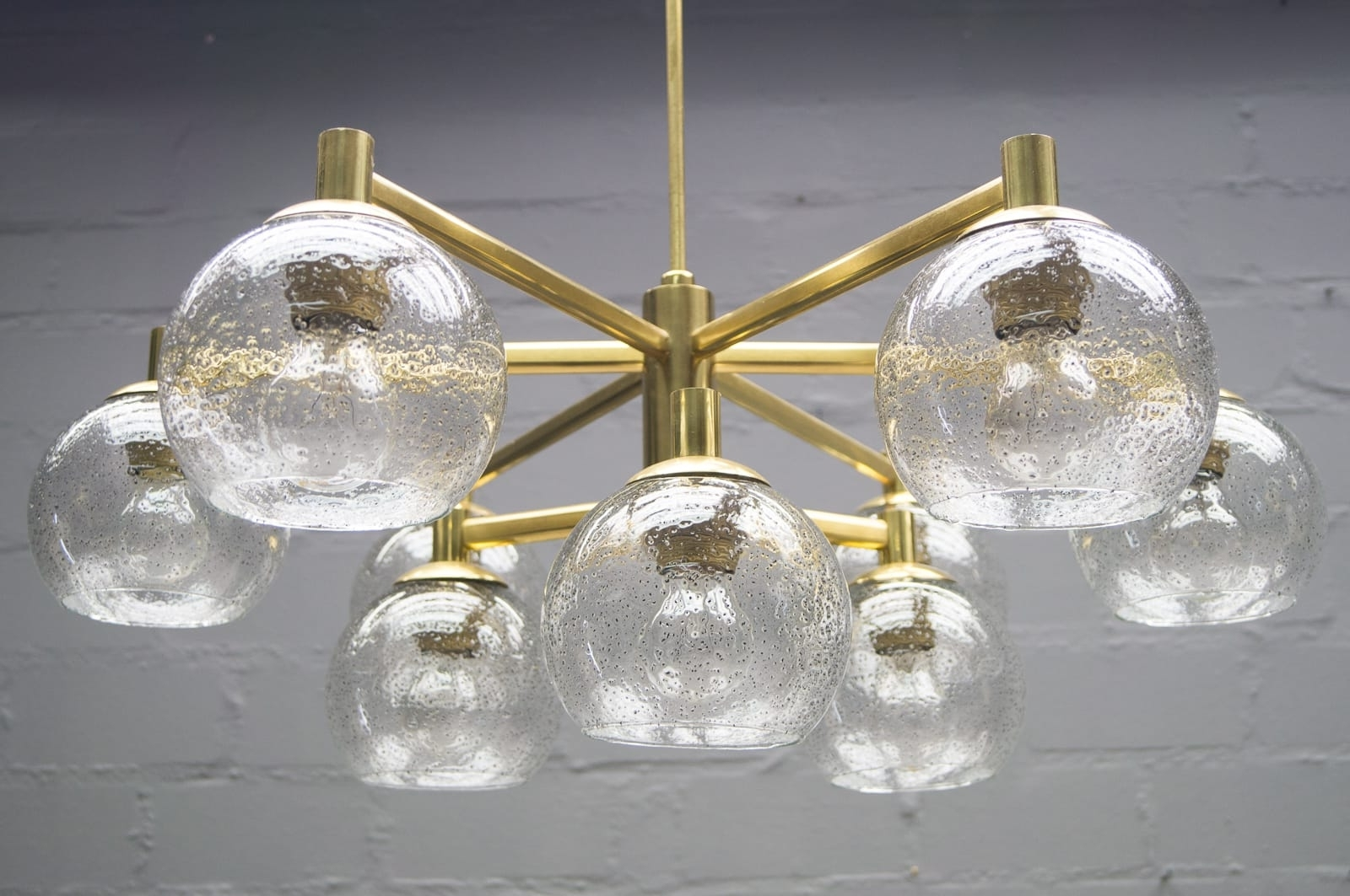 Most Up To Date Brass Vintage Chandelier With Nine Glass Spheres, 1960S For Sale At Within Vintage Chandelier (View 8 of 20)