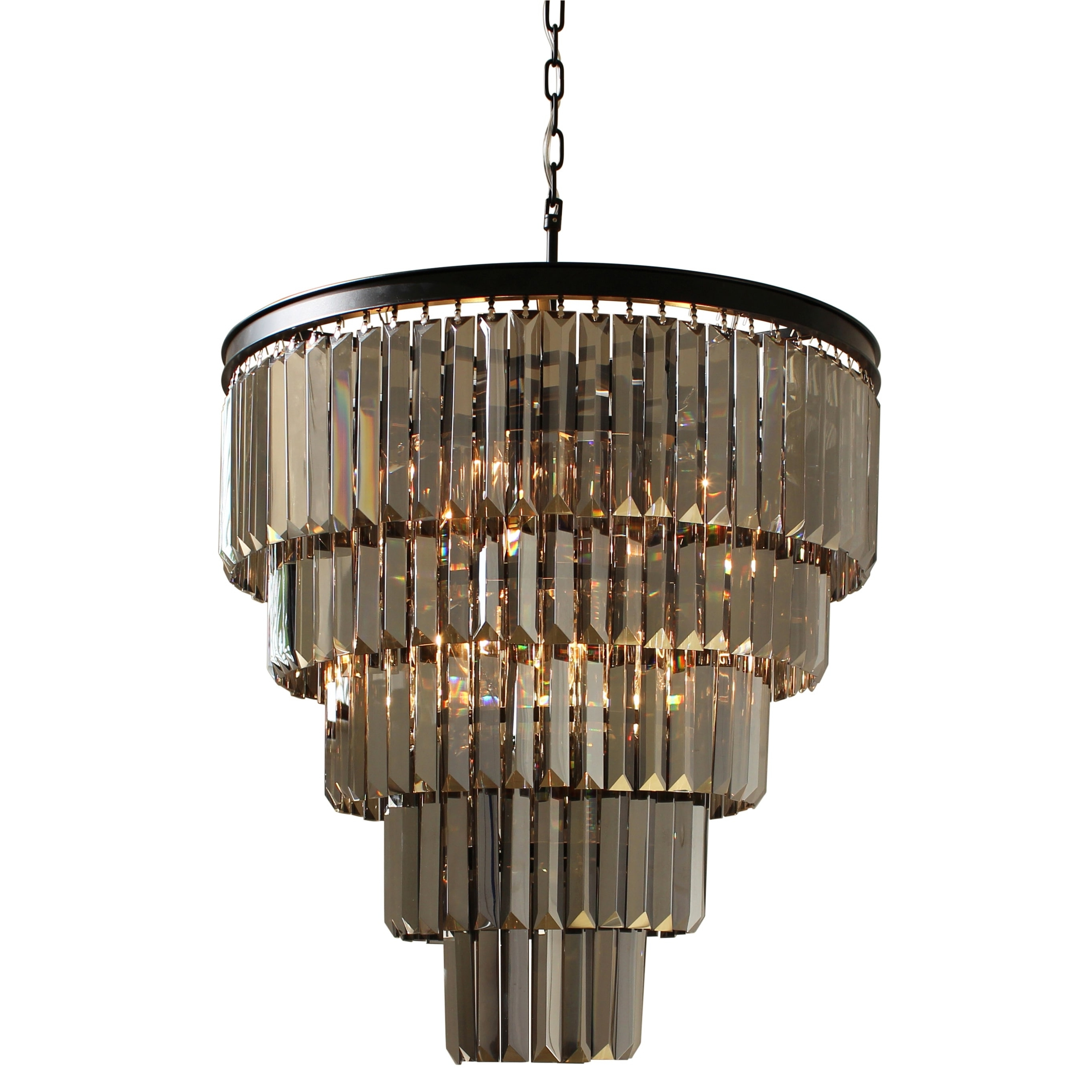 Most Up To Date D'angelo 5 Tier Iron Round Fringe Crystal Smoked Glass Chandelier Throughout Smoked Glass Chandelier (View 10 of 20)
