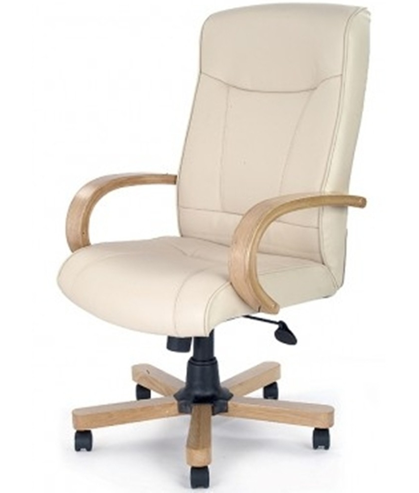 Most Up To Date Executive Office Armchairs Within Ivory & Oak Leather Look Executive Office Chair (View 4 of 20)