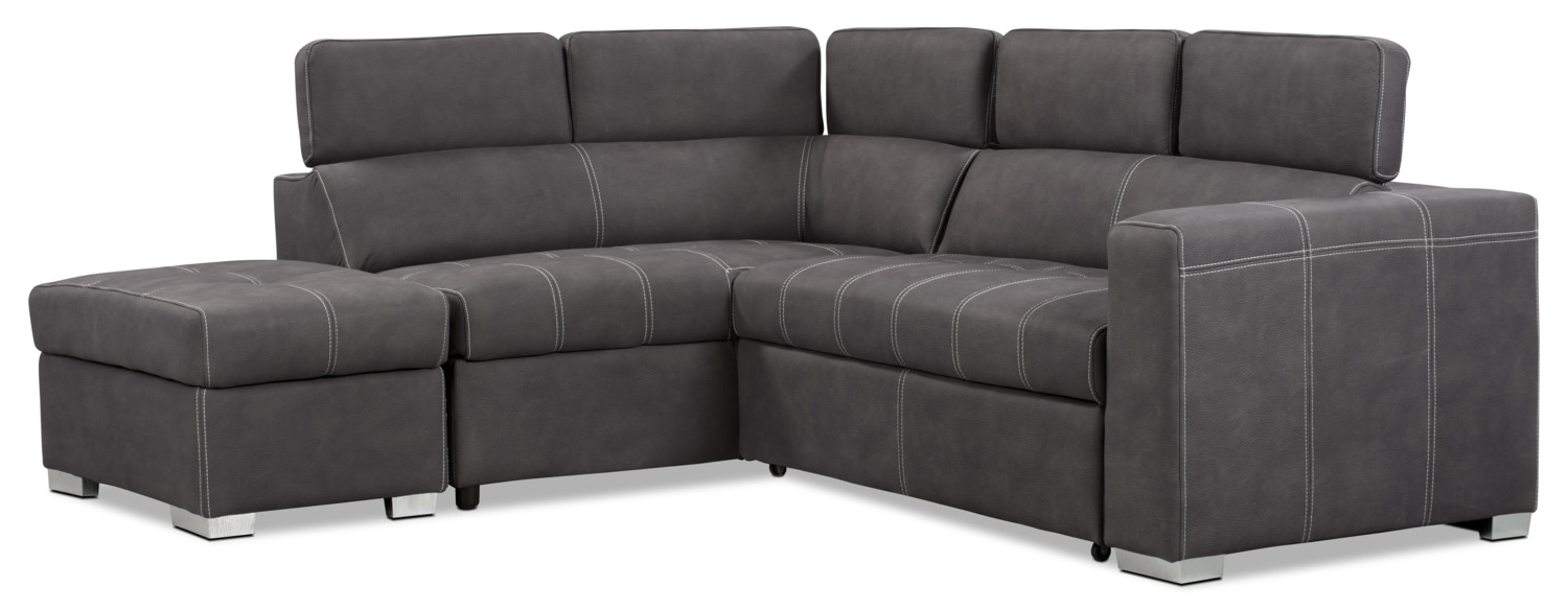 Most Up To Date Faux Suede Sofas Inside Foynes 3 Piece Faux Suede Right Facing Sectional With Sofa Bed (View 15 of 20)