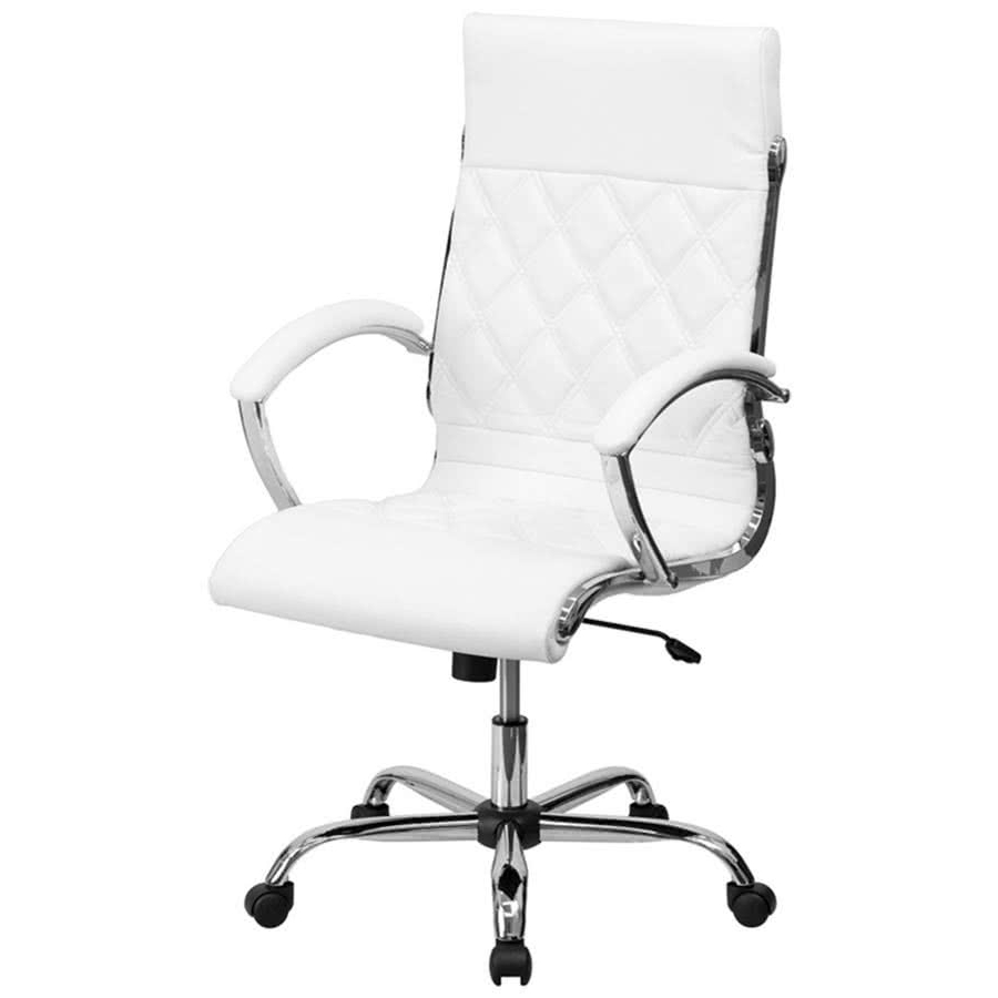 Most Up To Date Flash Furniture Go 1297h High White Gg High Back White Designer Throughout Executive Office Chairs Without Arms (View 2 of 20)