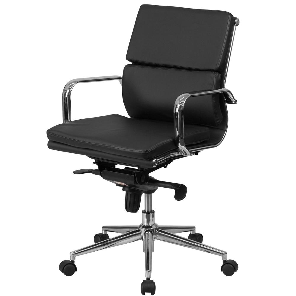 Most Up To Date Flash Furniture Mid Back Black Leather Executive Swivel Office Intended For Black Executive Office Chairs (View 18 of 20)