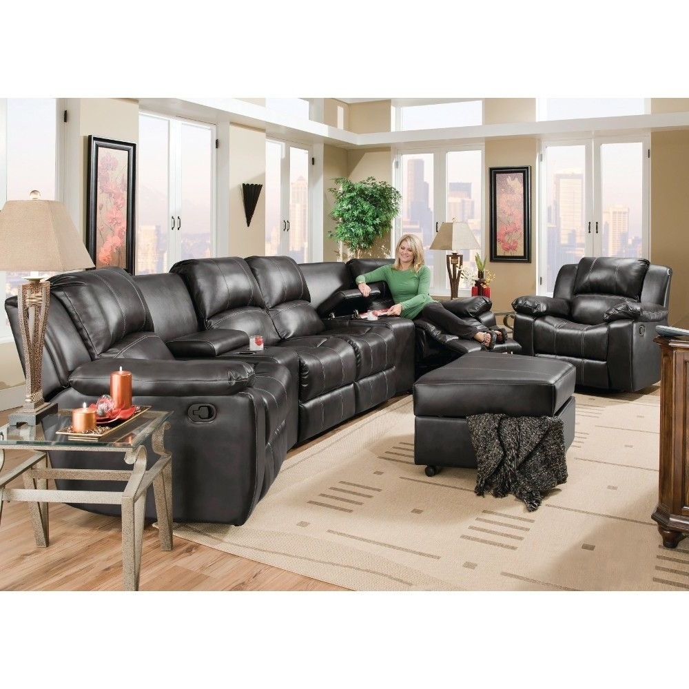 Most Up To Date Flick Home Theater – 2 Recliners, 2 Consoles & Reclining Loveseat Inside Sofas With Consoles (View 11 of 20)