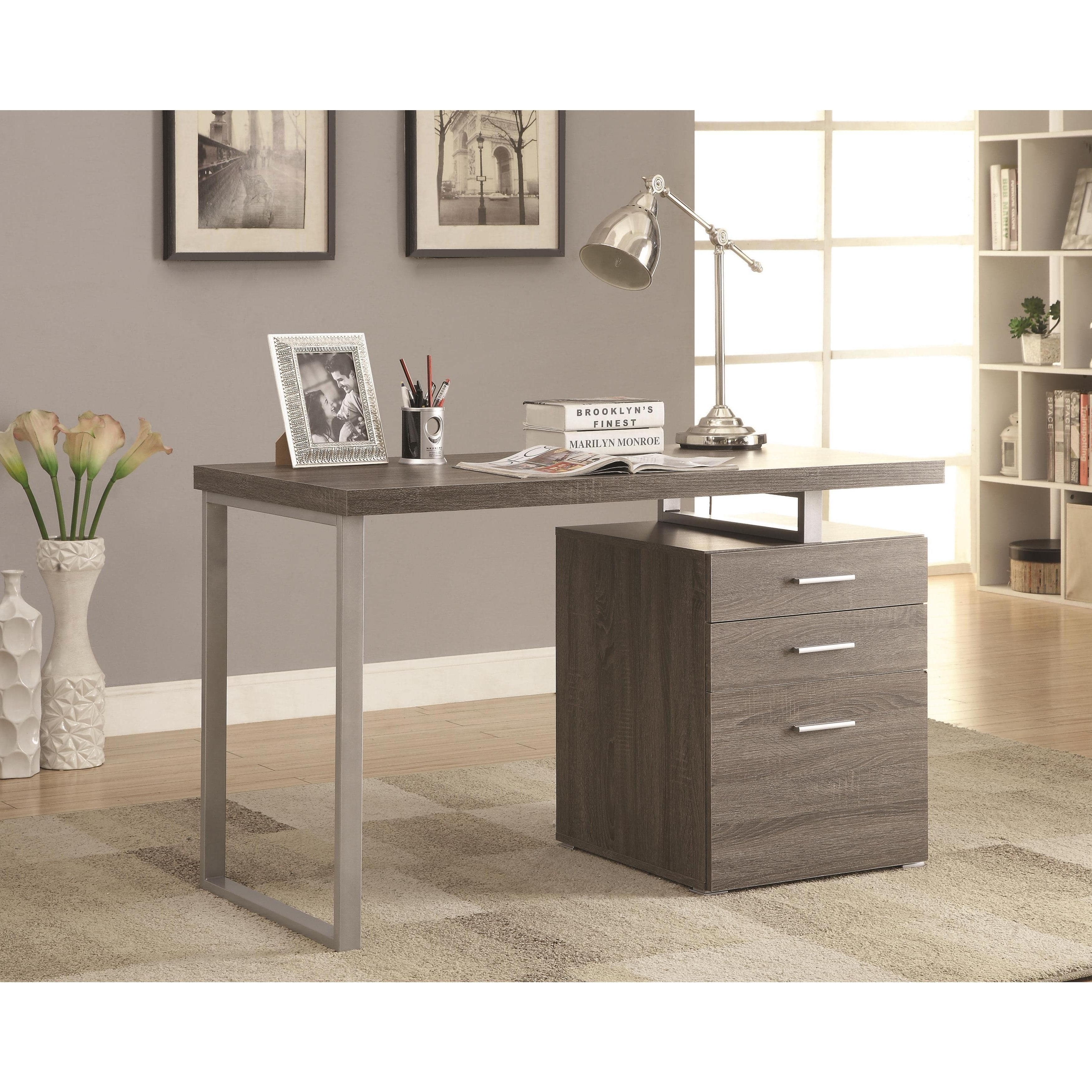 Most Up To Date Grey Computer Desks For Modern Design Home Office Weathered Grey Writing/ Computer Desk (View 5 of 20)