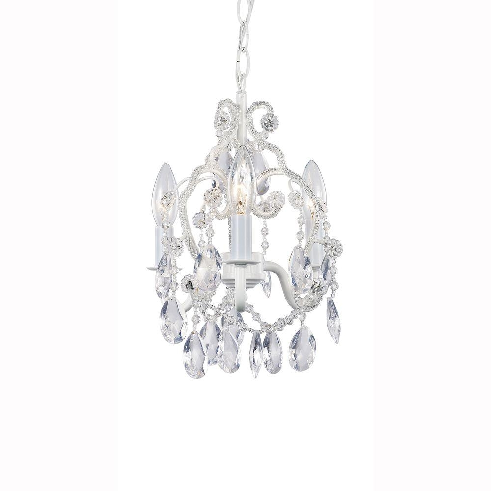 Most Up To Date Hampton Bay 3 Light White Mini Chandelier With Crystal Drops And In Small White Chandeliers (View 2 of 20)