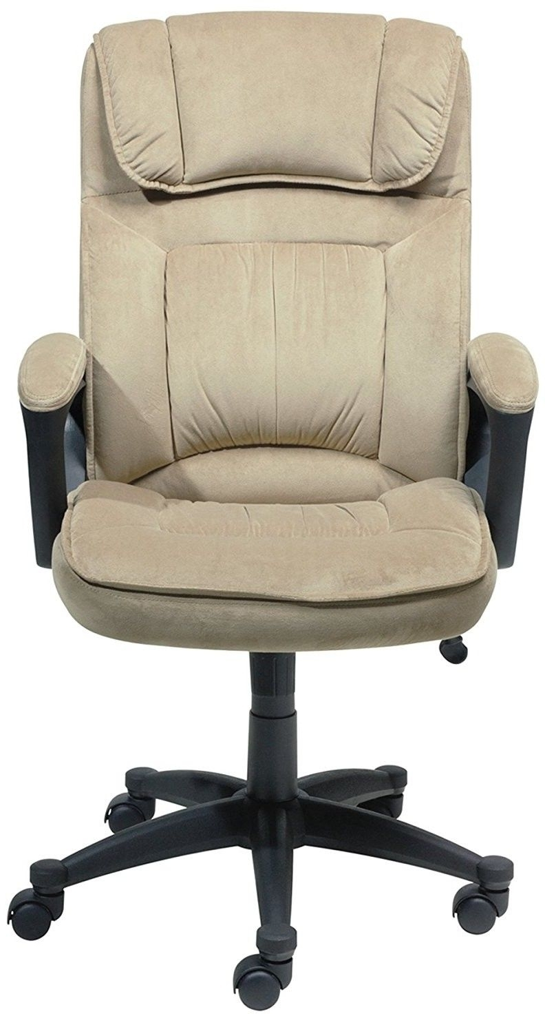 Most Up To Date Light Beige Microfiber Executive Office Chairs Inside Serta Executive Microfiber Office Chair Light Beige Black (View 15 of 20)
